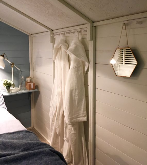 Somewhere to hang your dressing gown in the boutique bedroom grand shed project