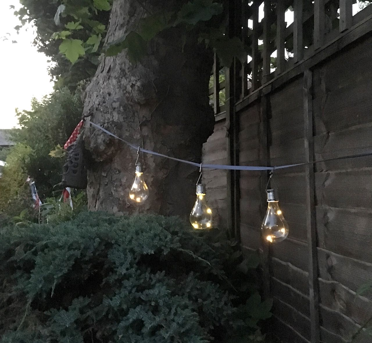solar light bulb shaped lights above the barbeque