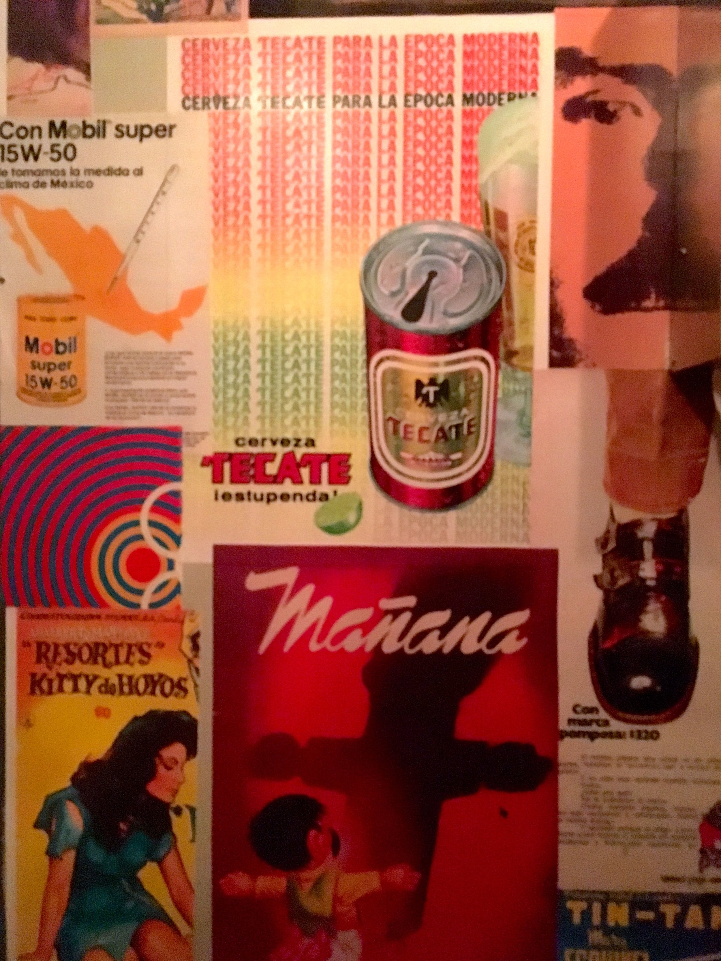 Modern art covers the walls in the loos at El Pastor