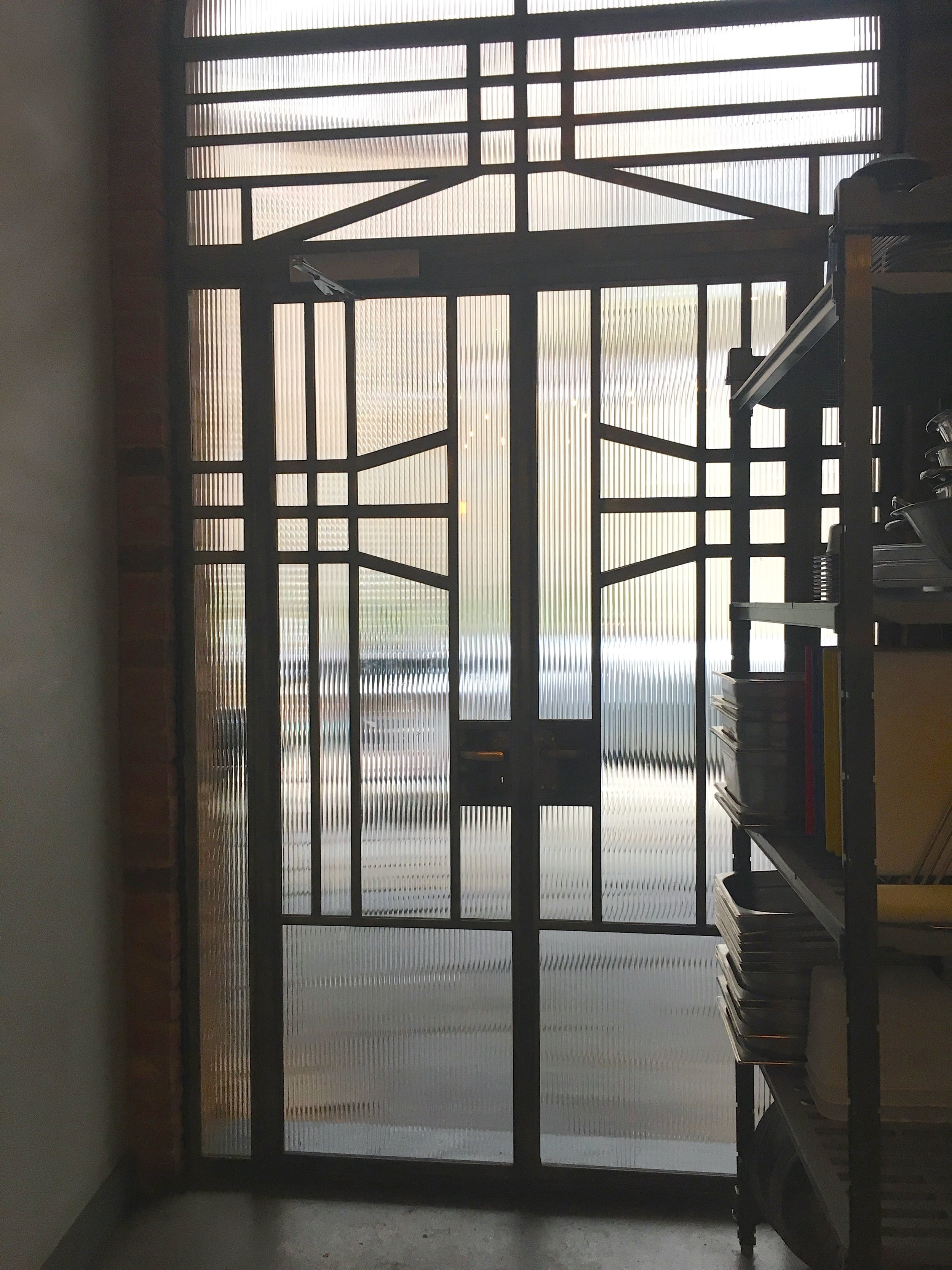 Fantastic crittall art-deco style doors as you approach the loos at El Pastor in Borough Market