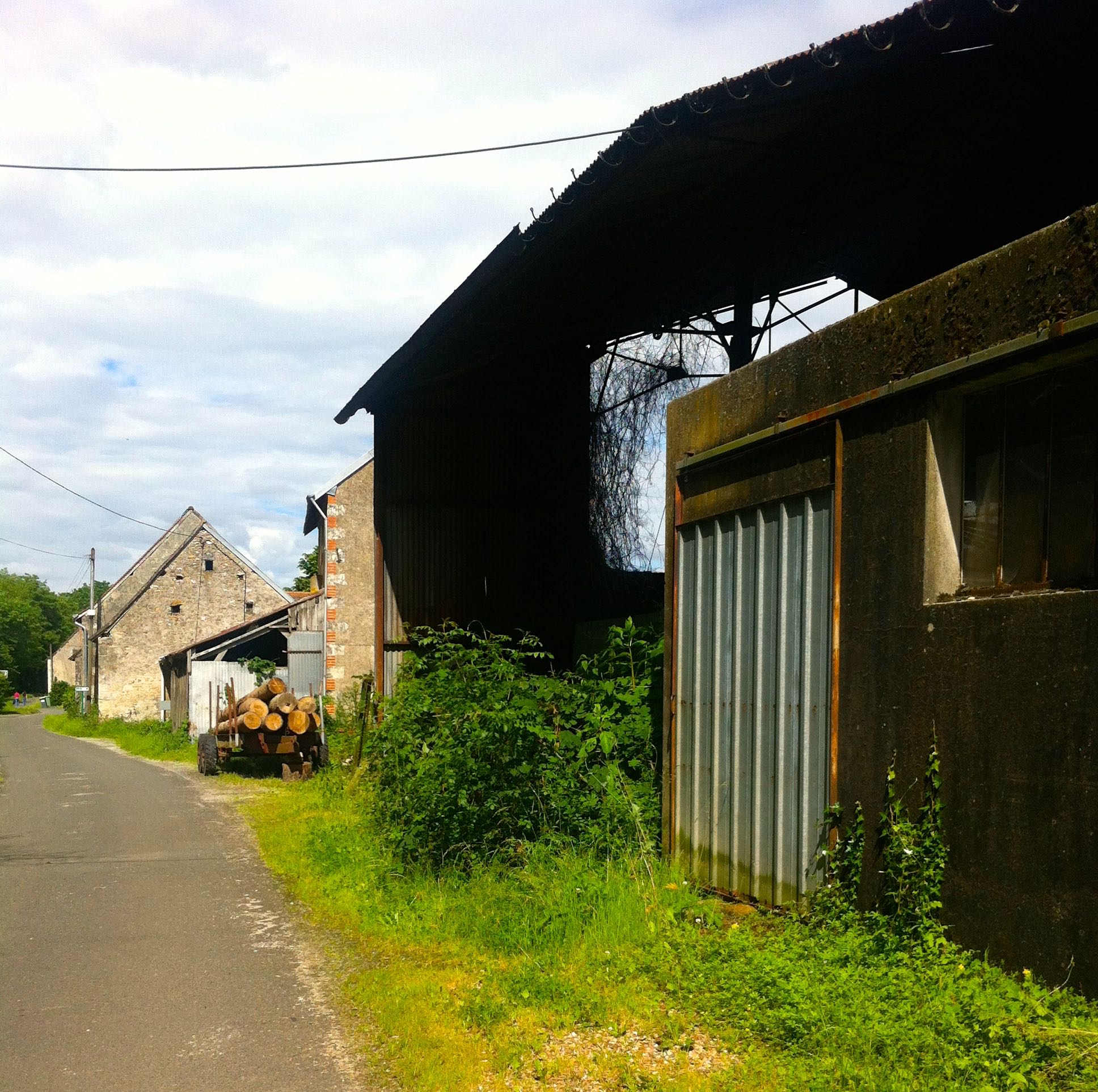 Cycling through a typically French country village in the Loire
