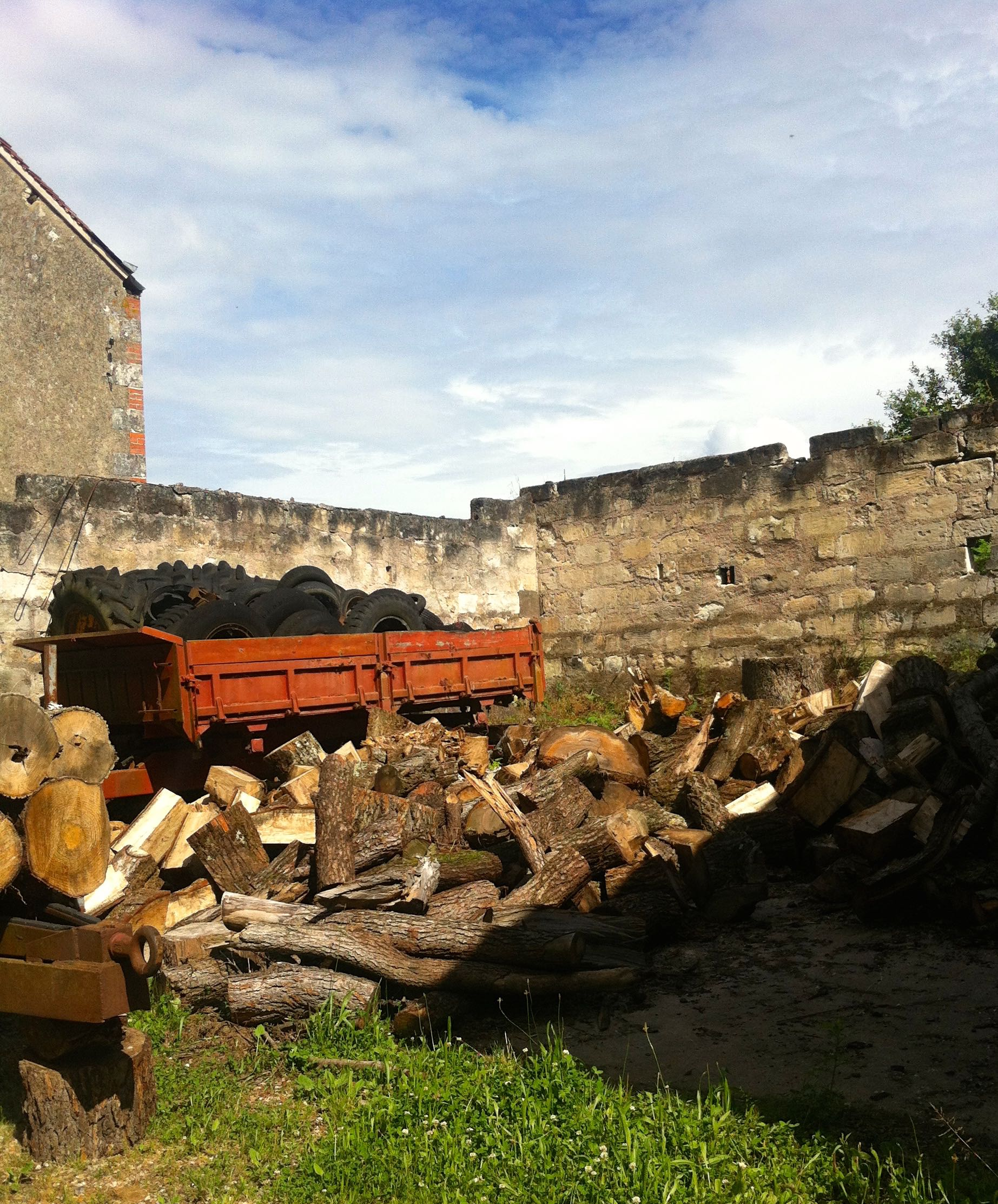 A pile of logs and tyres looking much better than they really should