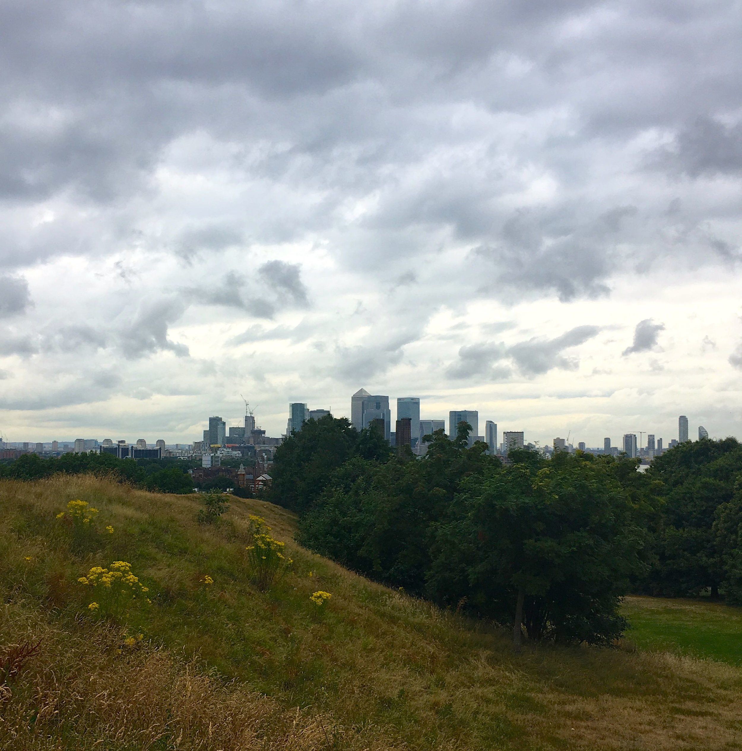 Looking over at London's skyline from Greenwich Park