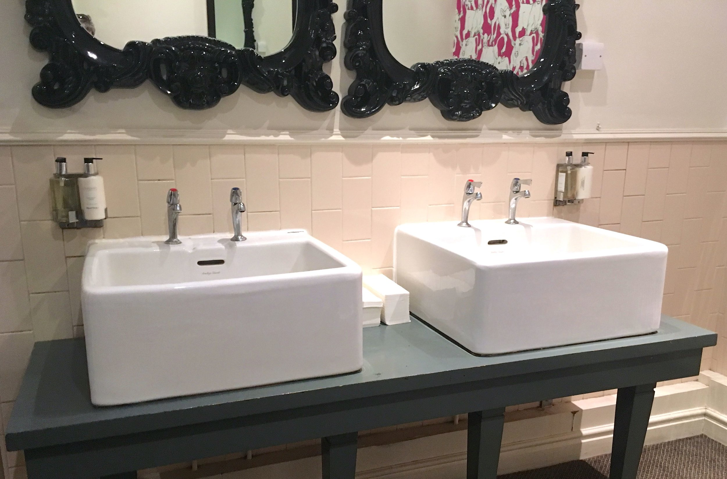 And what better than to put underneath the large mirrors?  Large sinks of course!