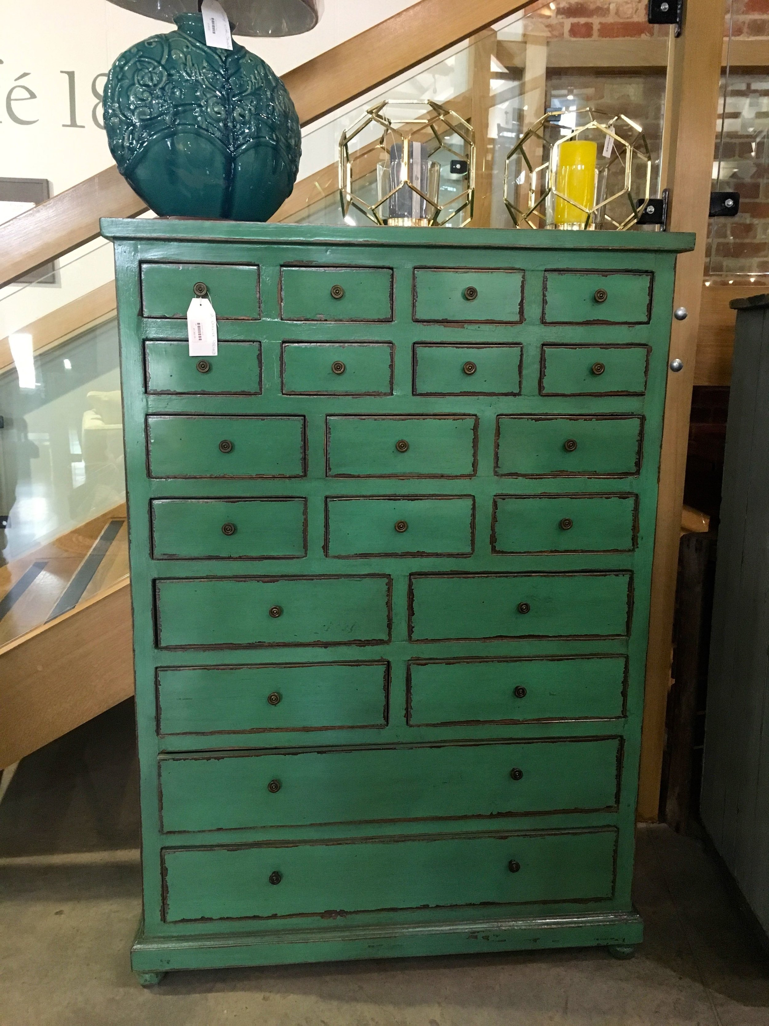 A jade green chest in the Homes & Gardens shop at Snape Malting Suffolk
