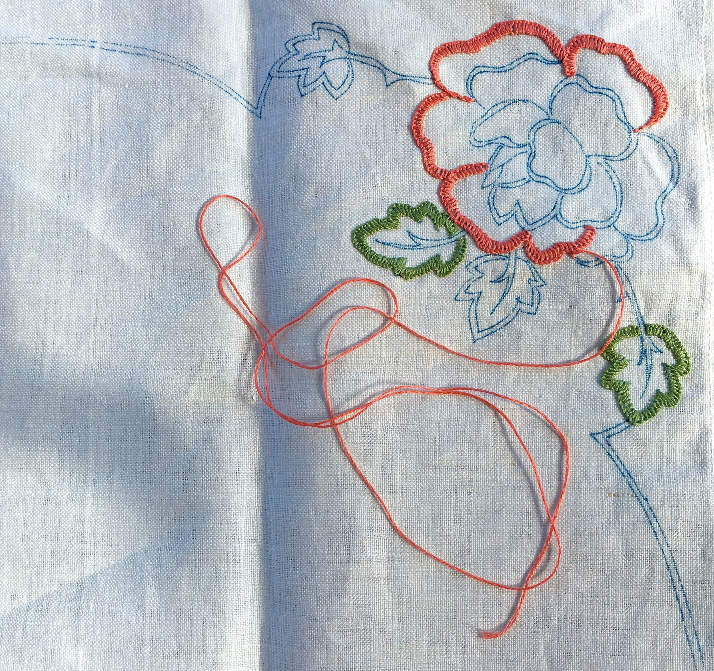 My linen tablecloth embroidery project - someone else has made a start