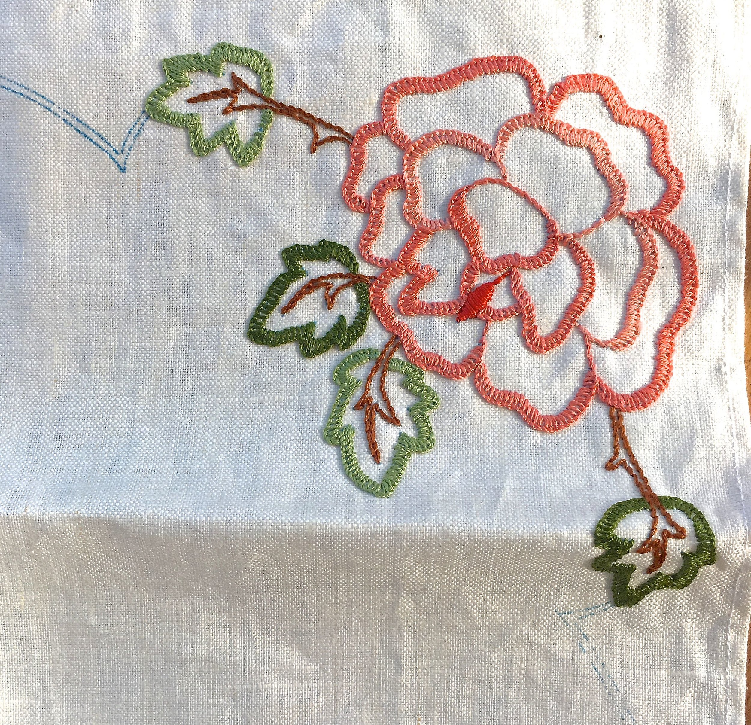 My linen tablecloth embroidery project - a completed corner