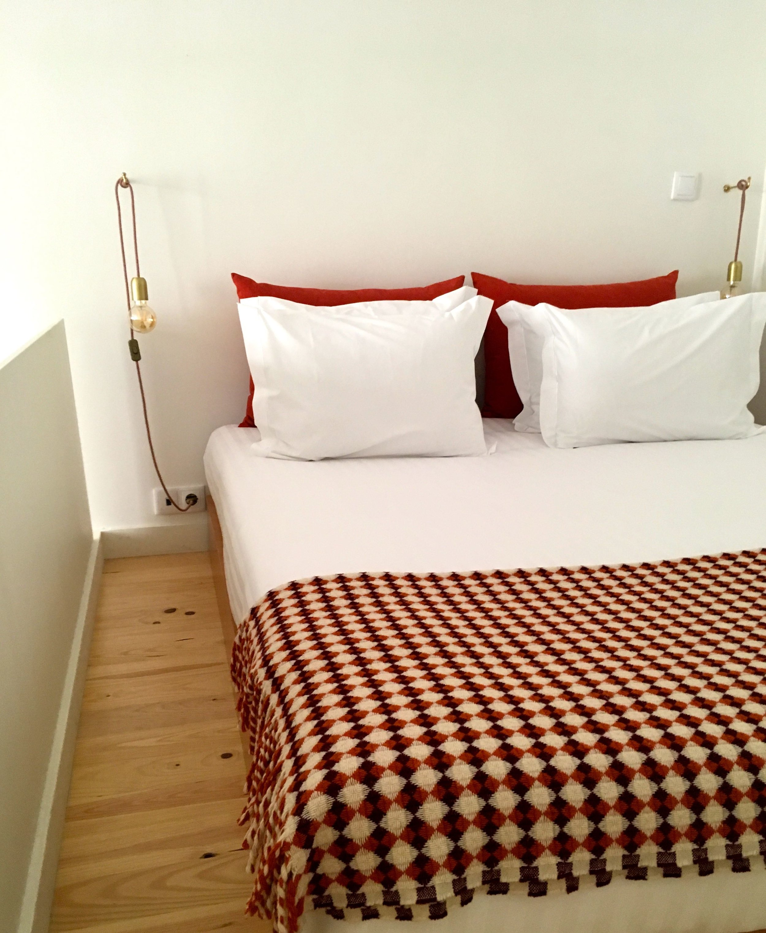 Just enough space for a bed in the quirky Porto apartment