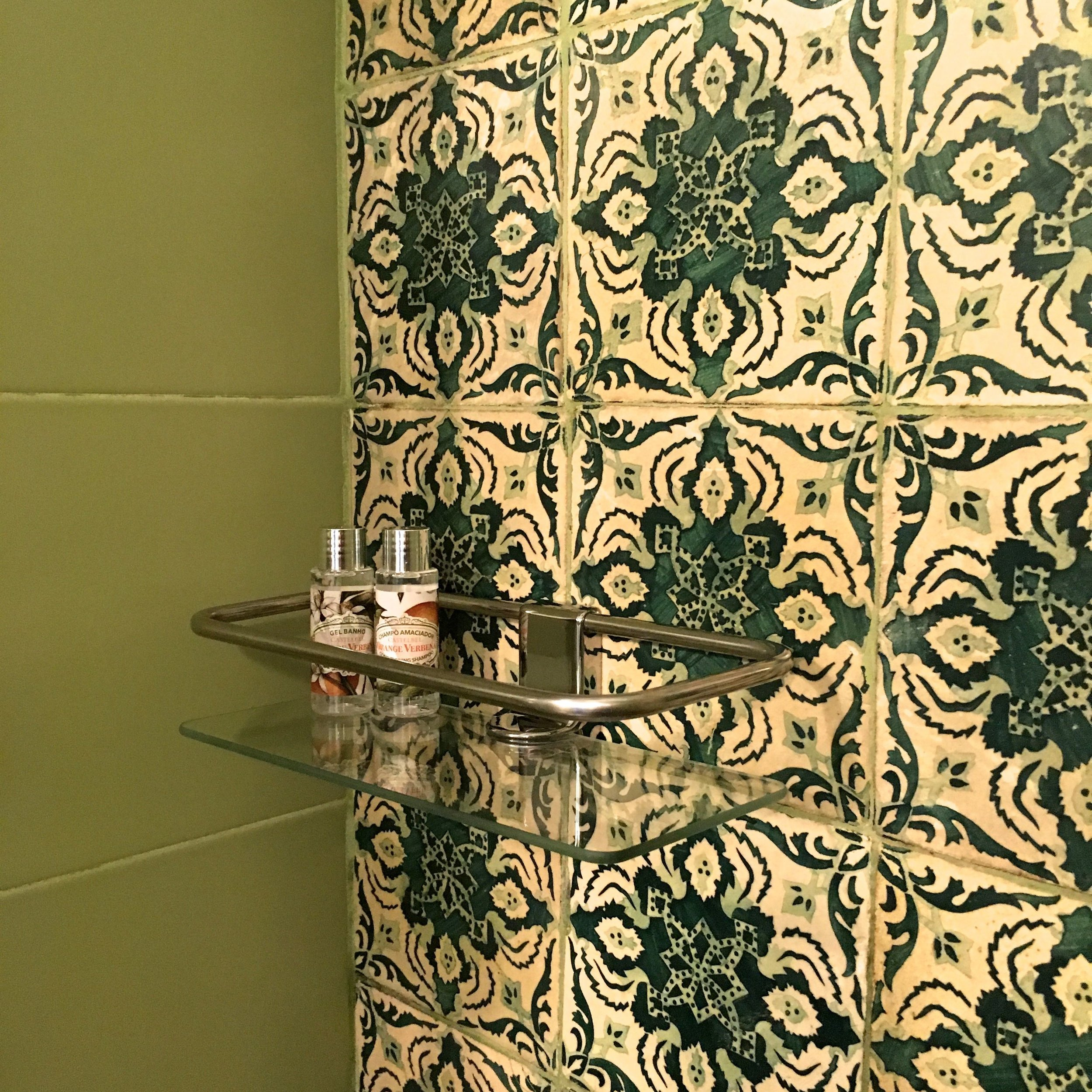 patterned tiles in the bathroom, what else would you expect in Porto?