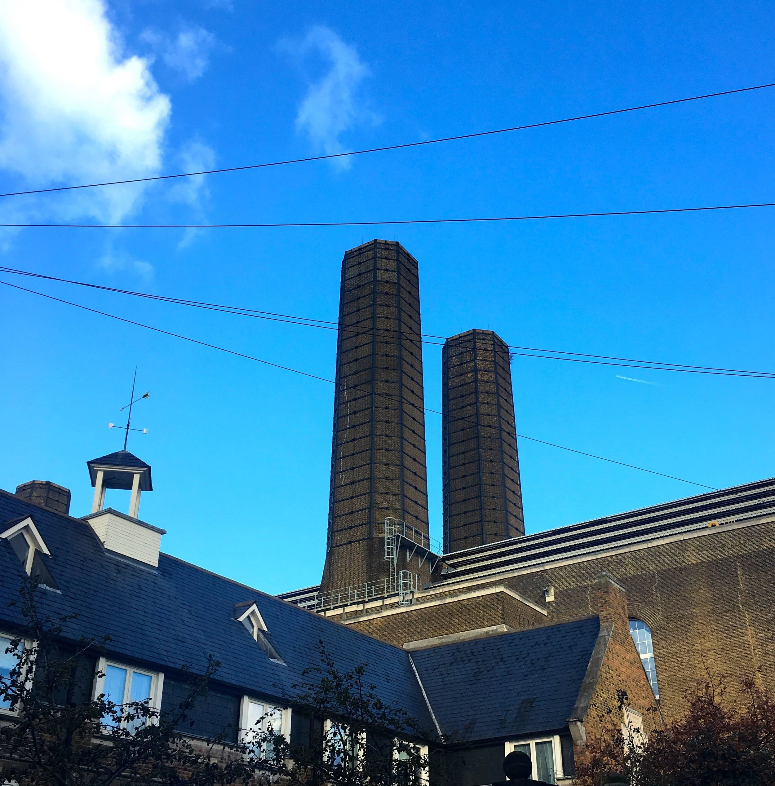 Greenwich power station and blue skies