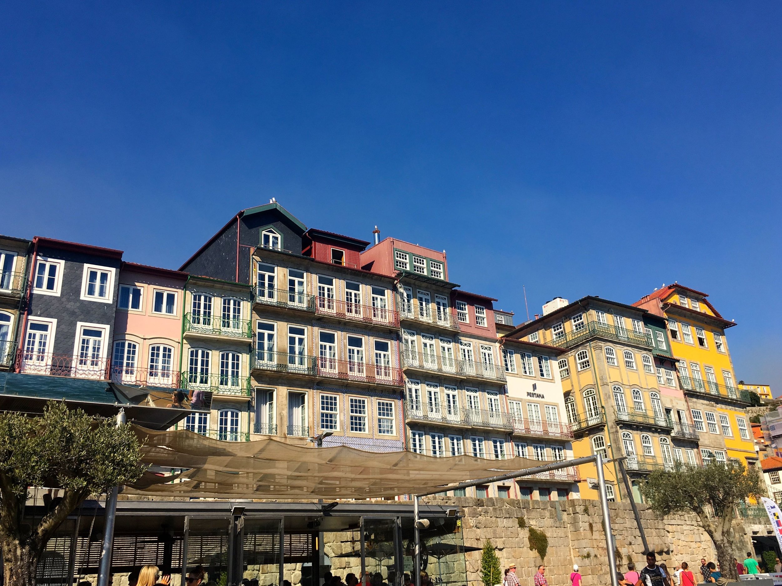 Pastel building facades on the river douro front