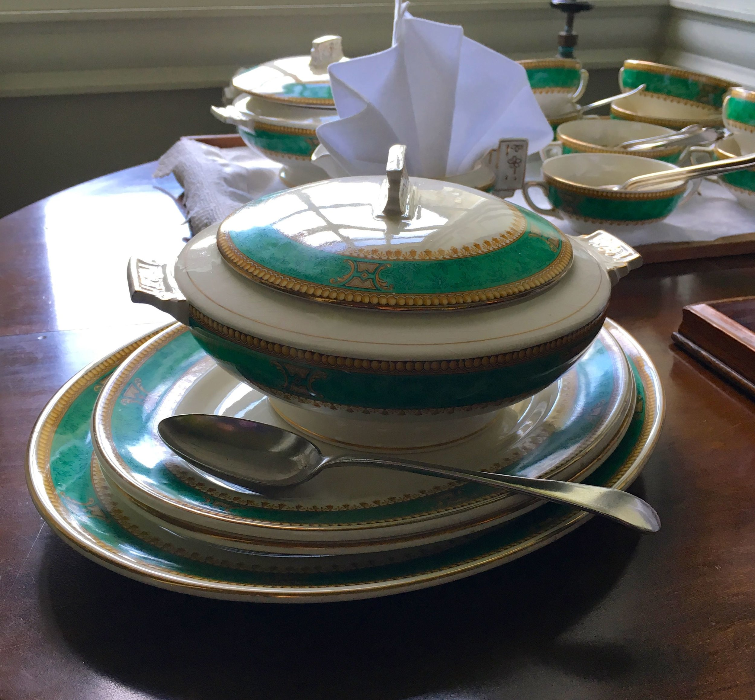 Crockery on the dining table at Mottisfont