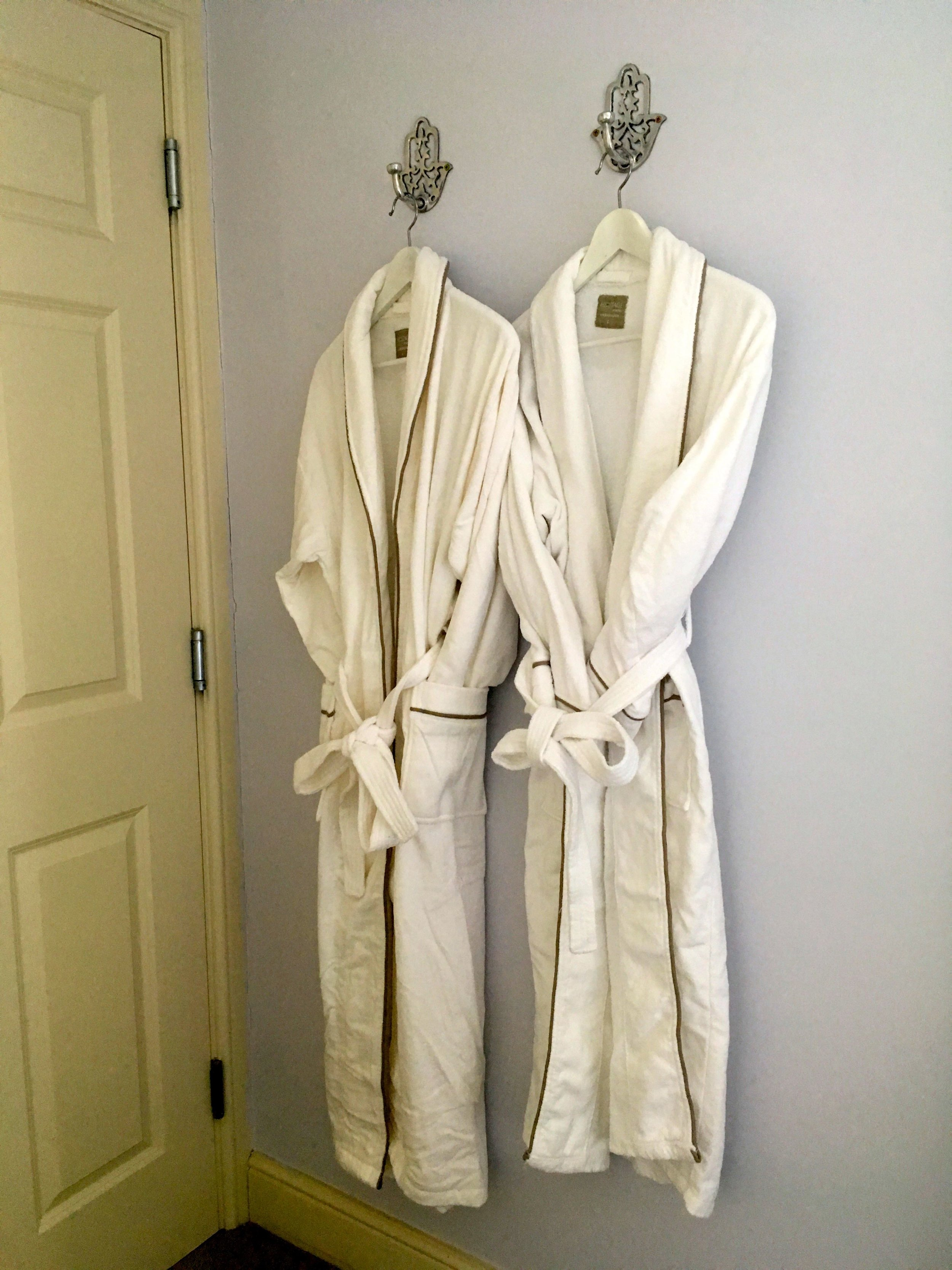 And velour towelling bathroom robes