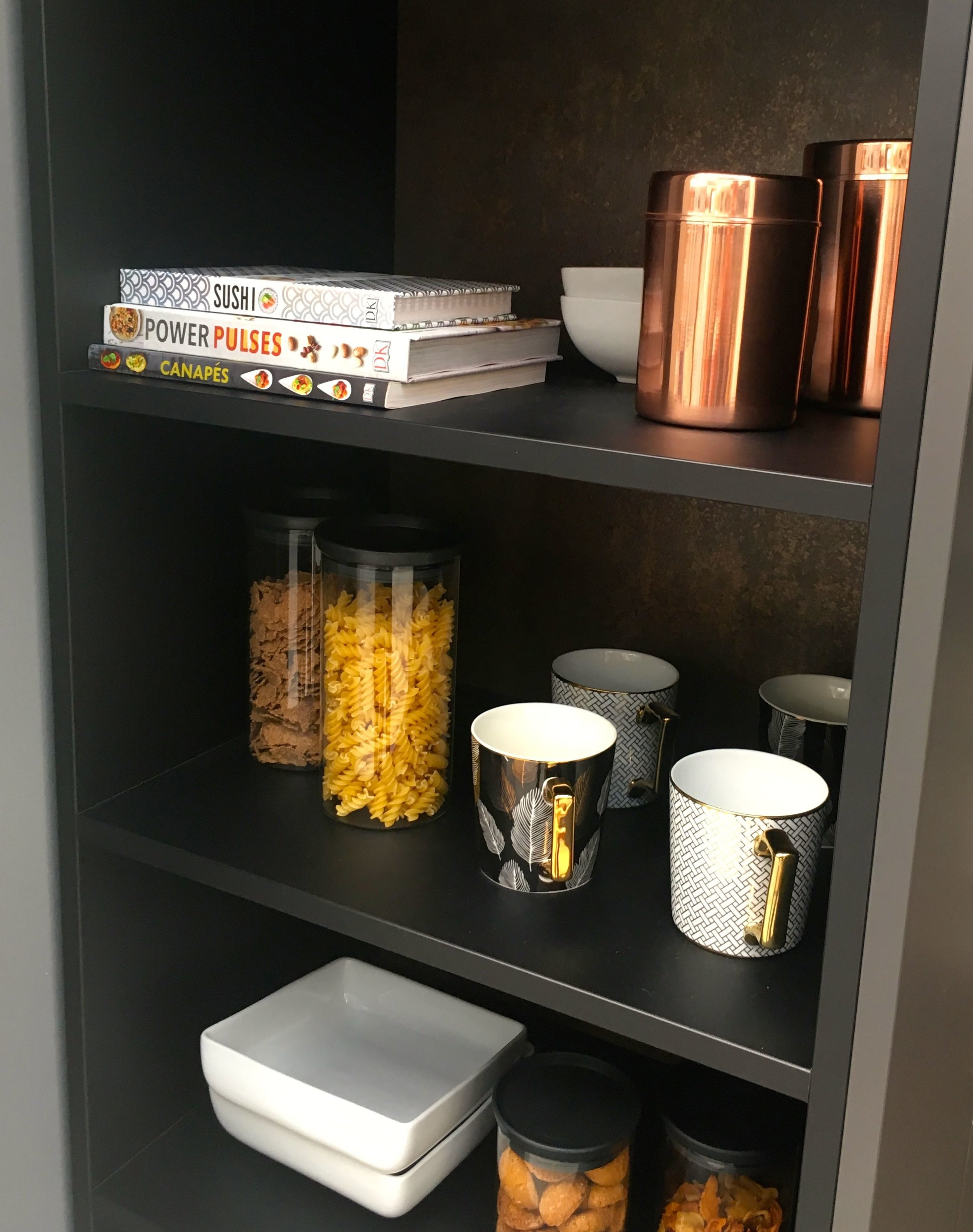 Stylish storage in the kitchen  room set at the Ideal Home Show