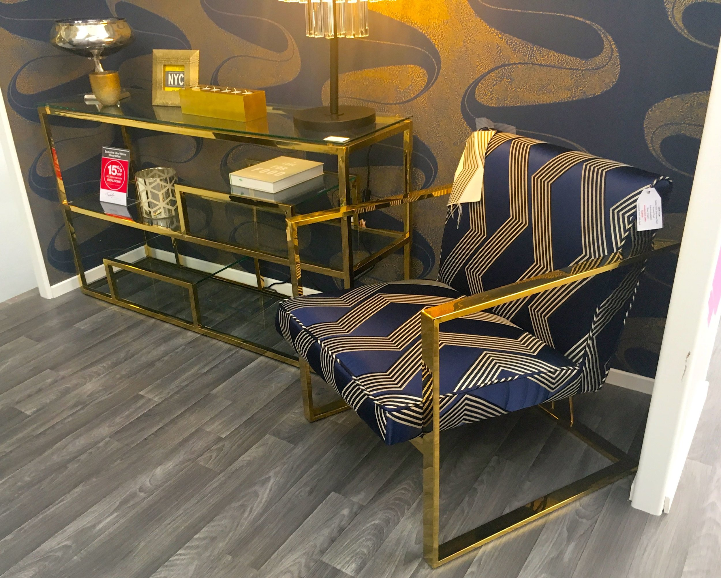 Brass and bold patterns on the Furnish your home stand at the Ideal Home Show