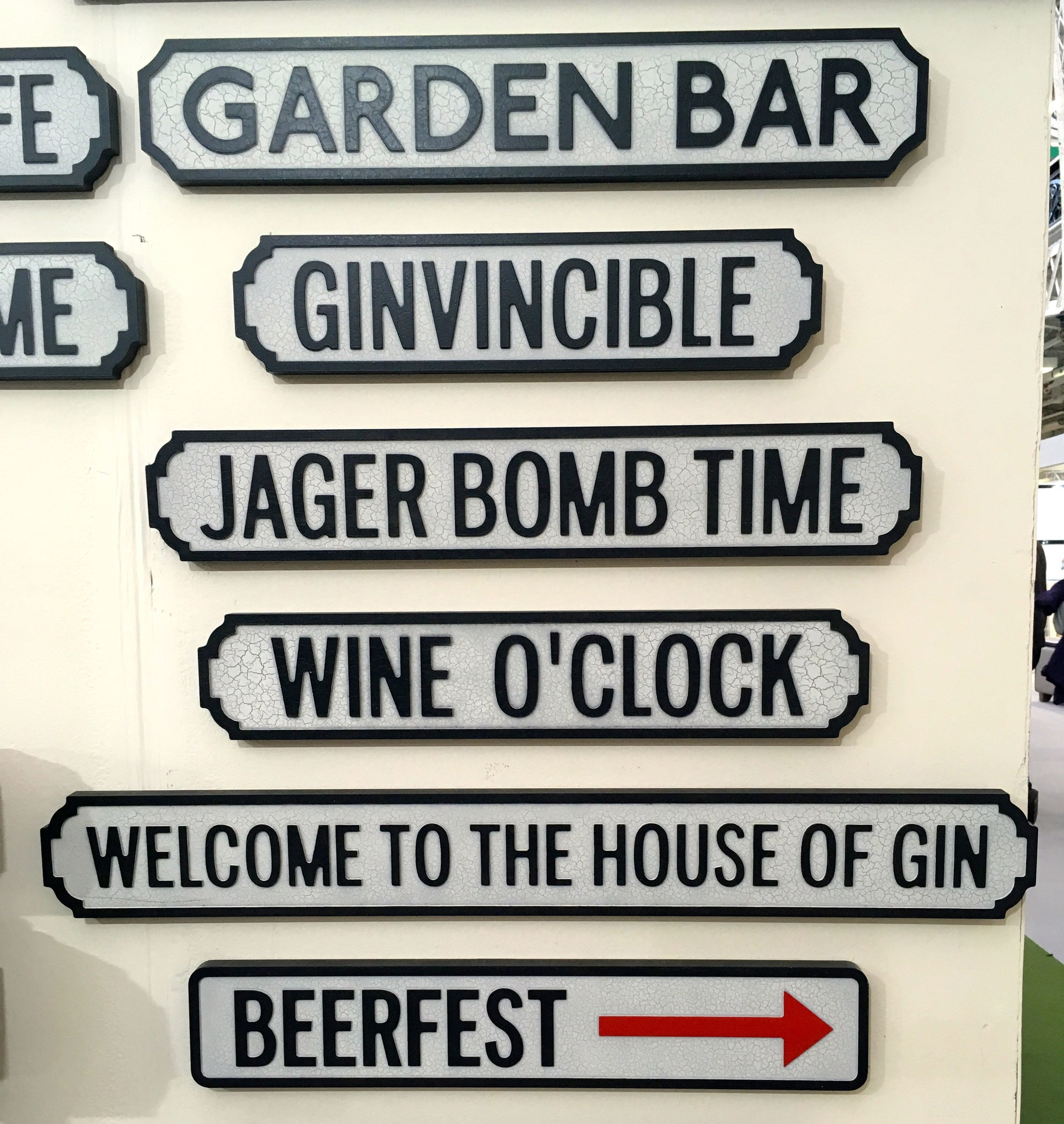 Signs at the Ideal Home Show