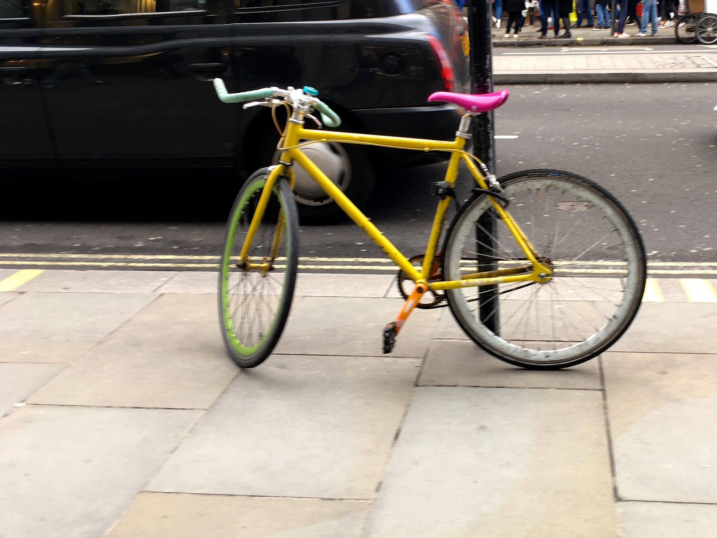 A colourful push bike too
