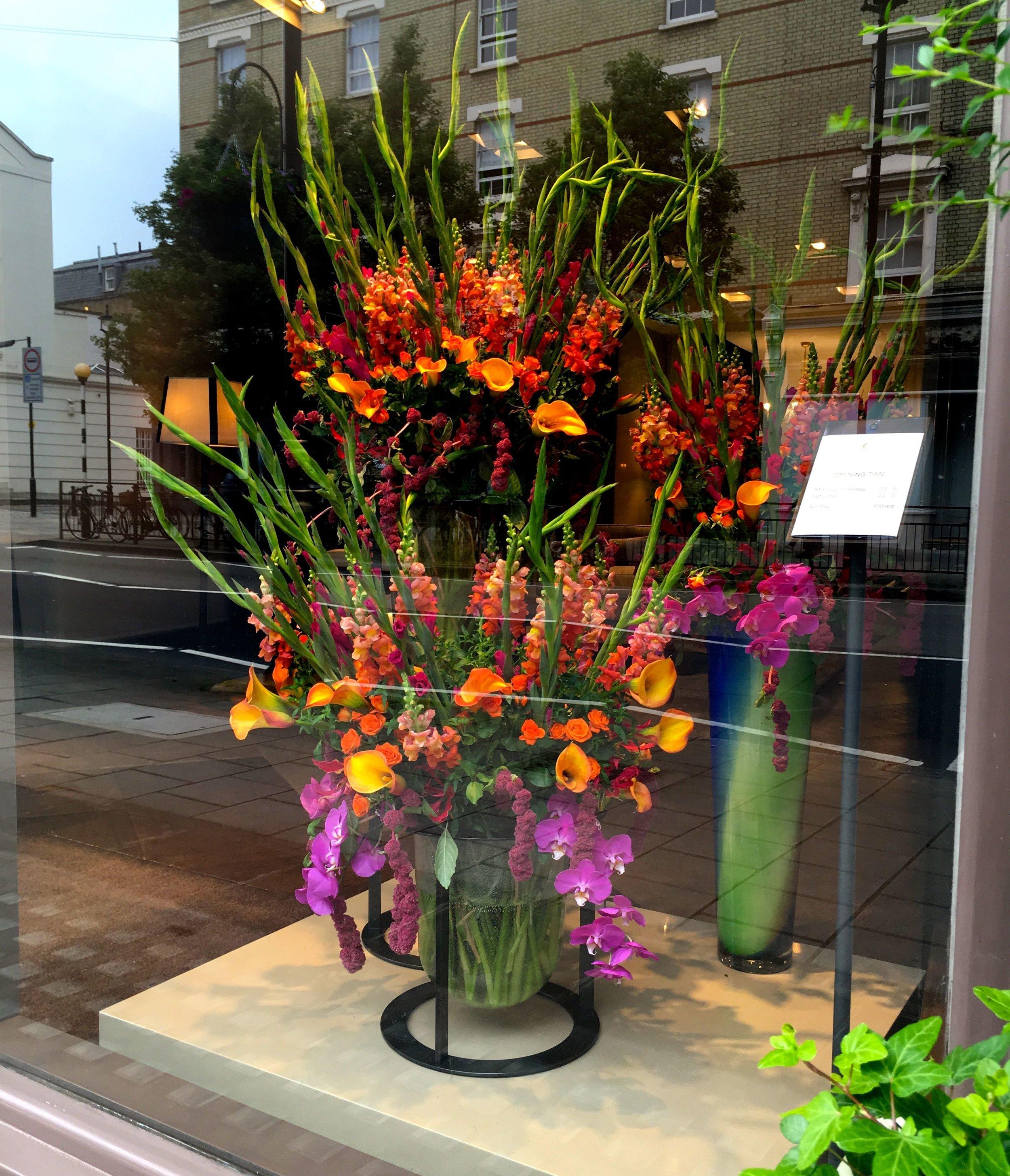 Burnished orange and brights oversized display