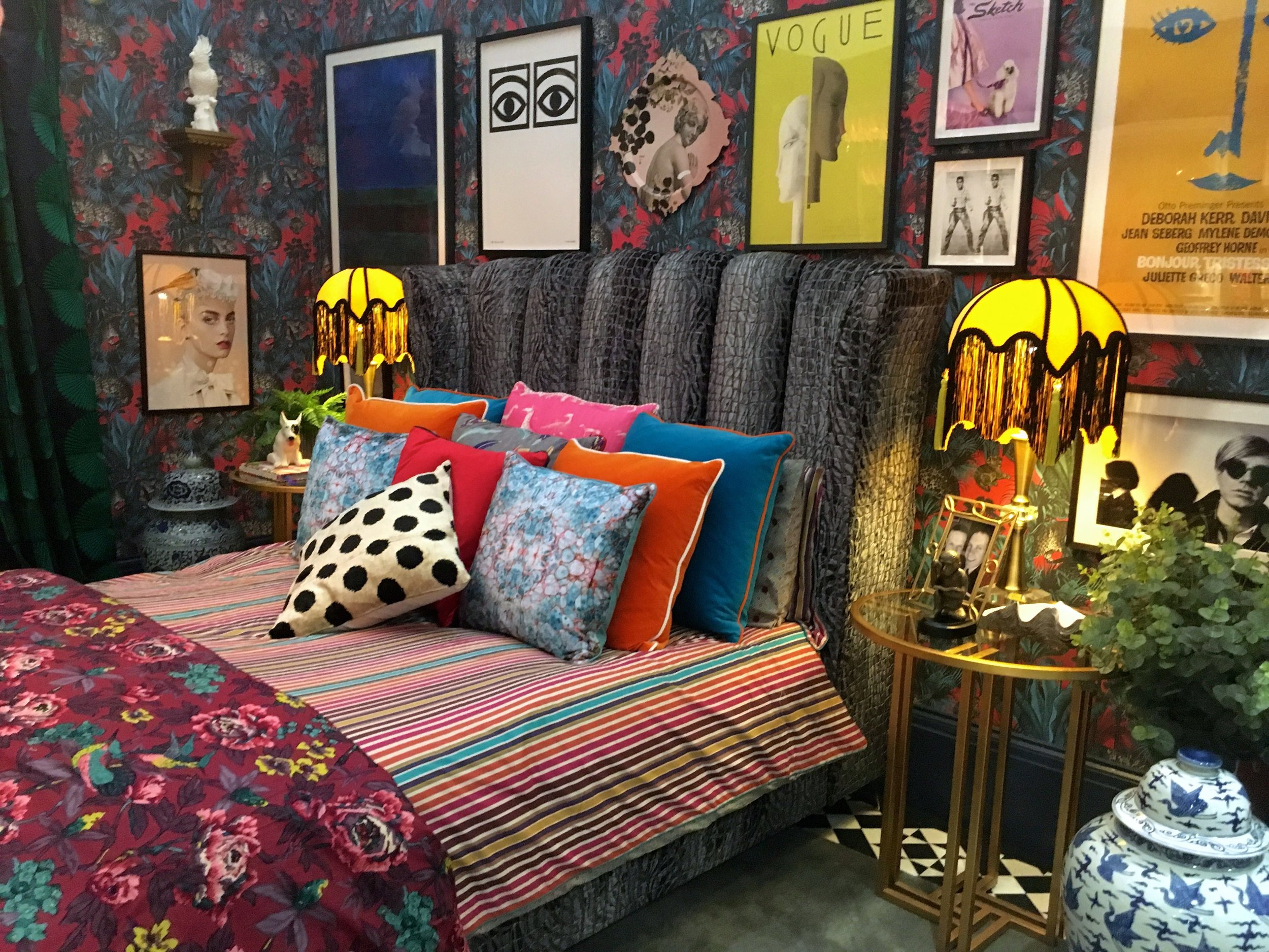 Even the bed and bedding are colourful