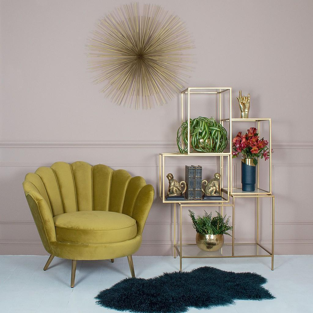 This chair gives a nod to art-deco styling