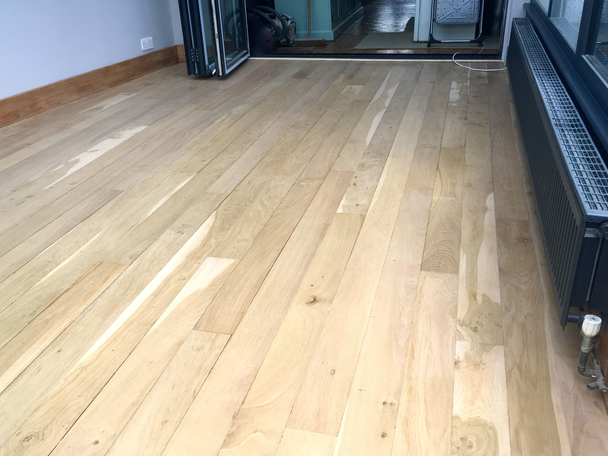 A newly sanded and varnished floor