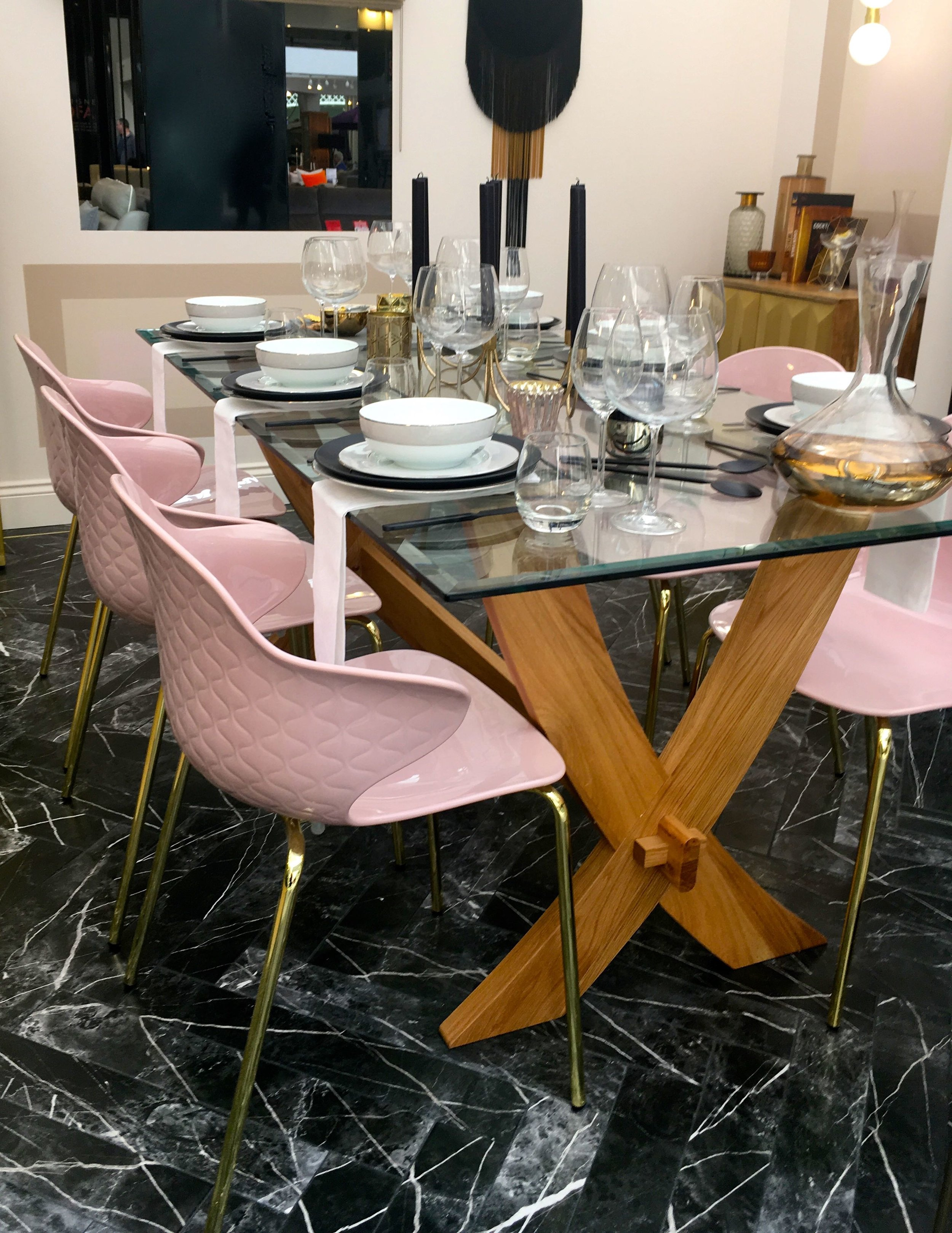 pastel pink, glass, wood and dramatic flooring