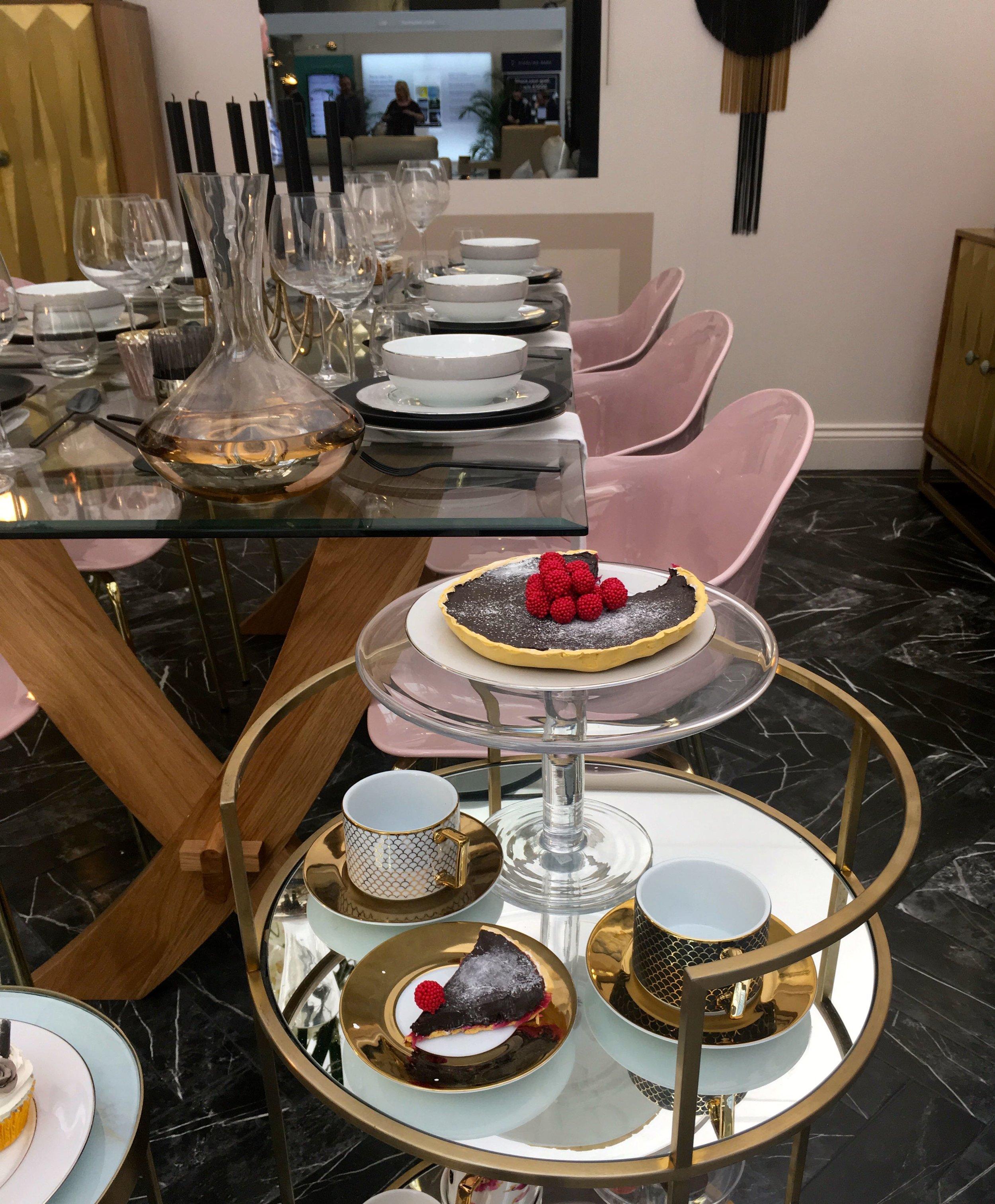 afternoon tea on a gilt trolley