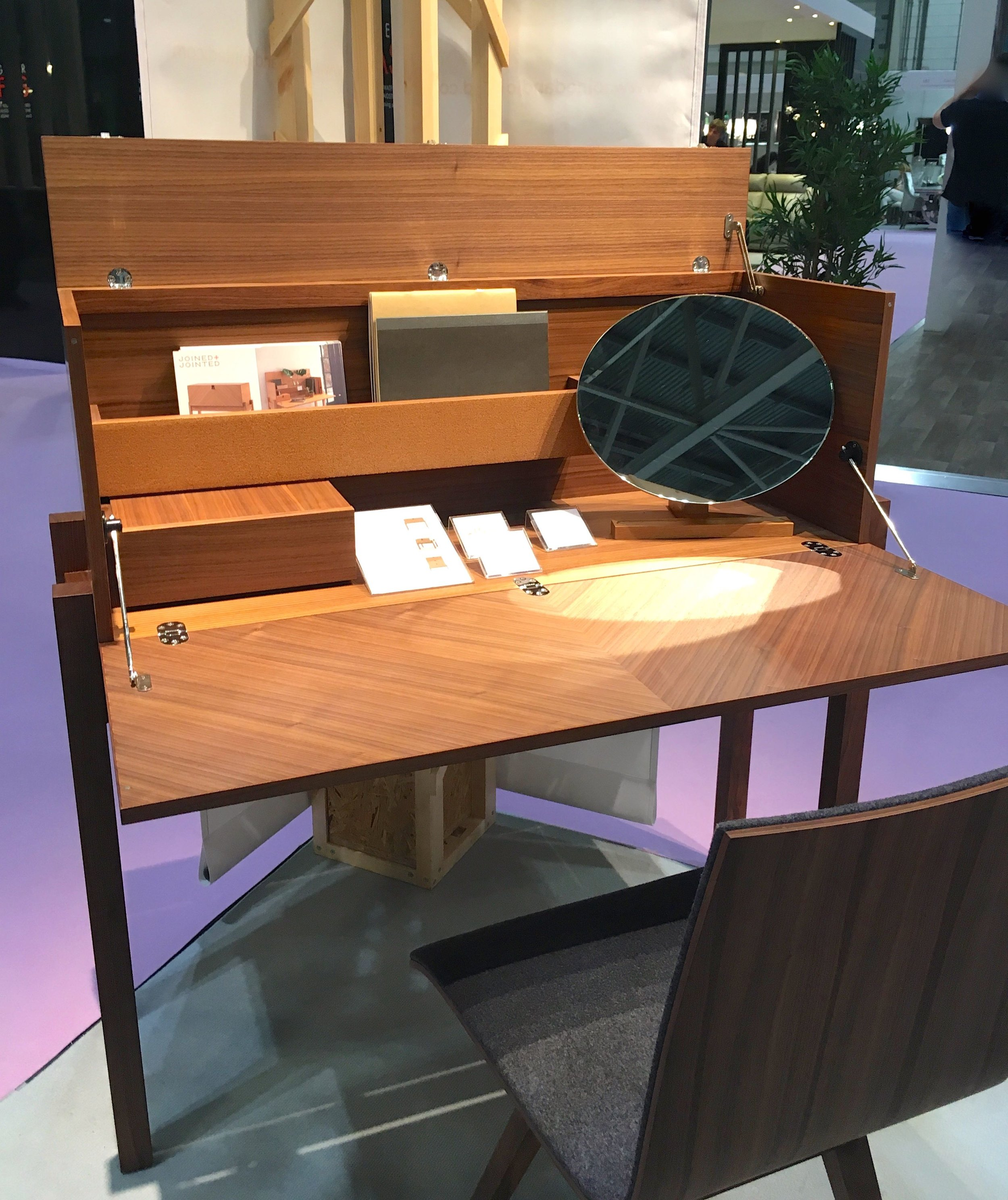 A wooden bureau or writing desk at Grand Designs Live 2018