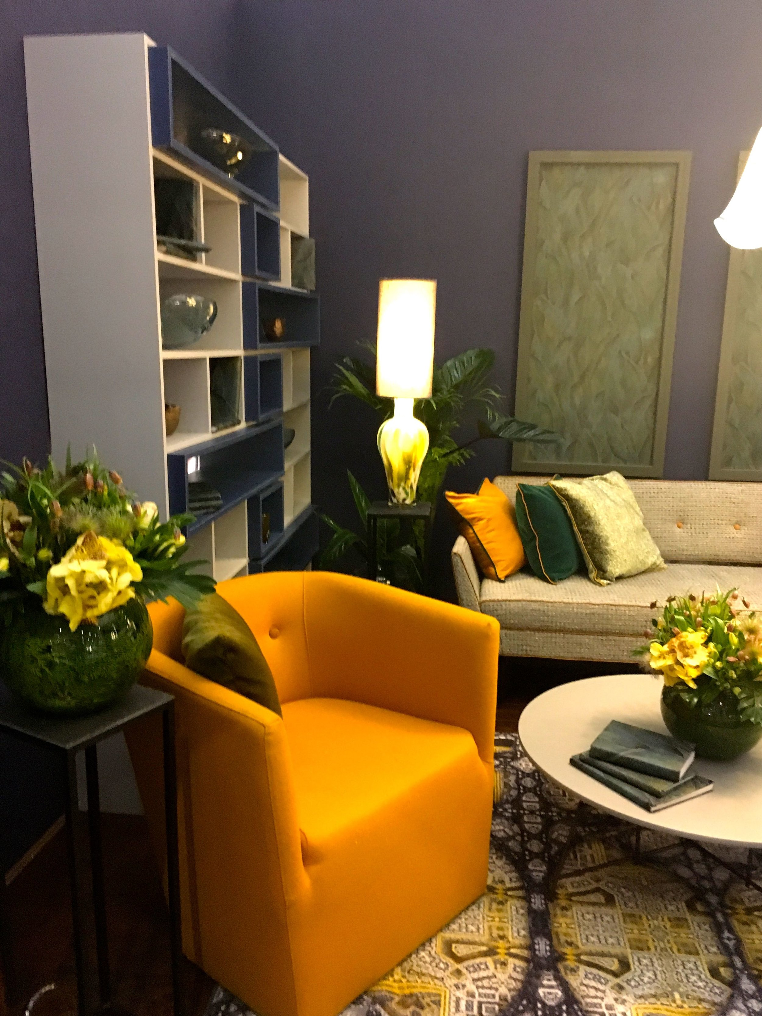 A different view of the dark and citrus living room set at Grand Designs Live 2018