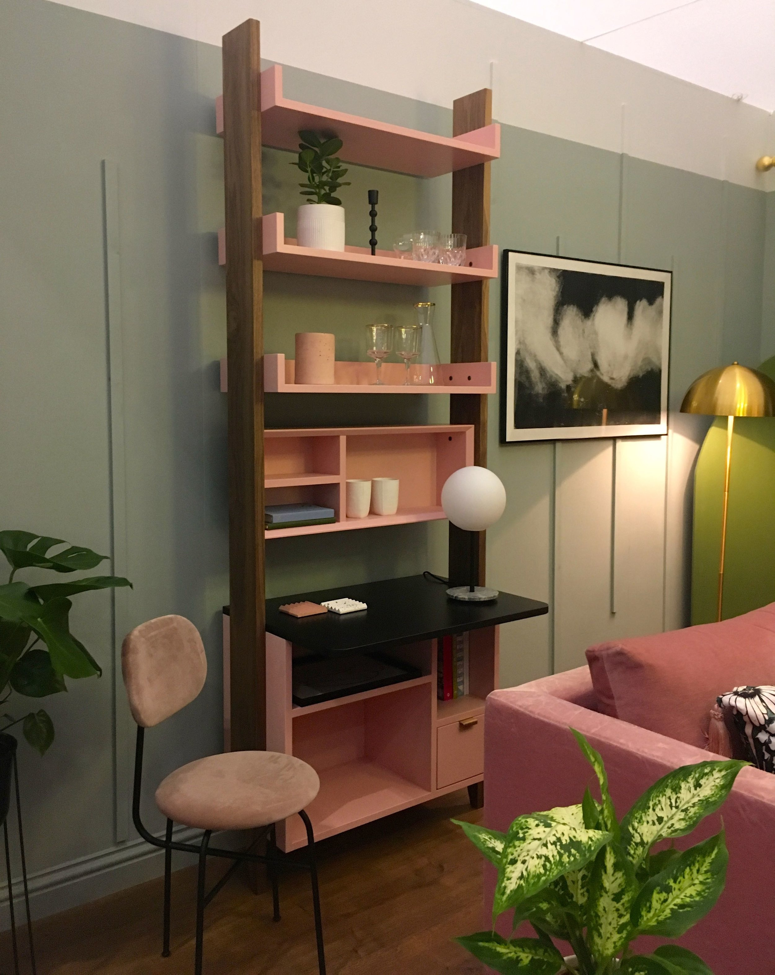 dusky pink and pale green in the lounge room set at Grand Designs Live