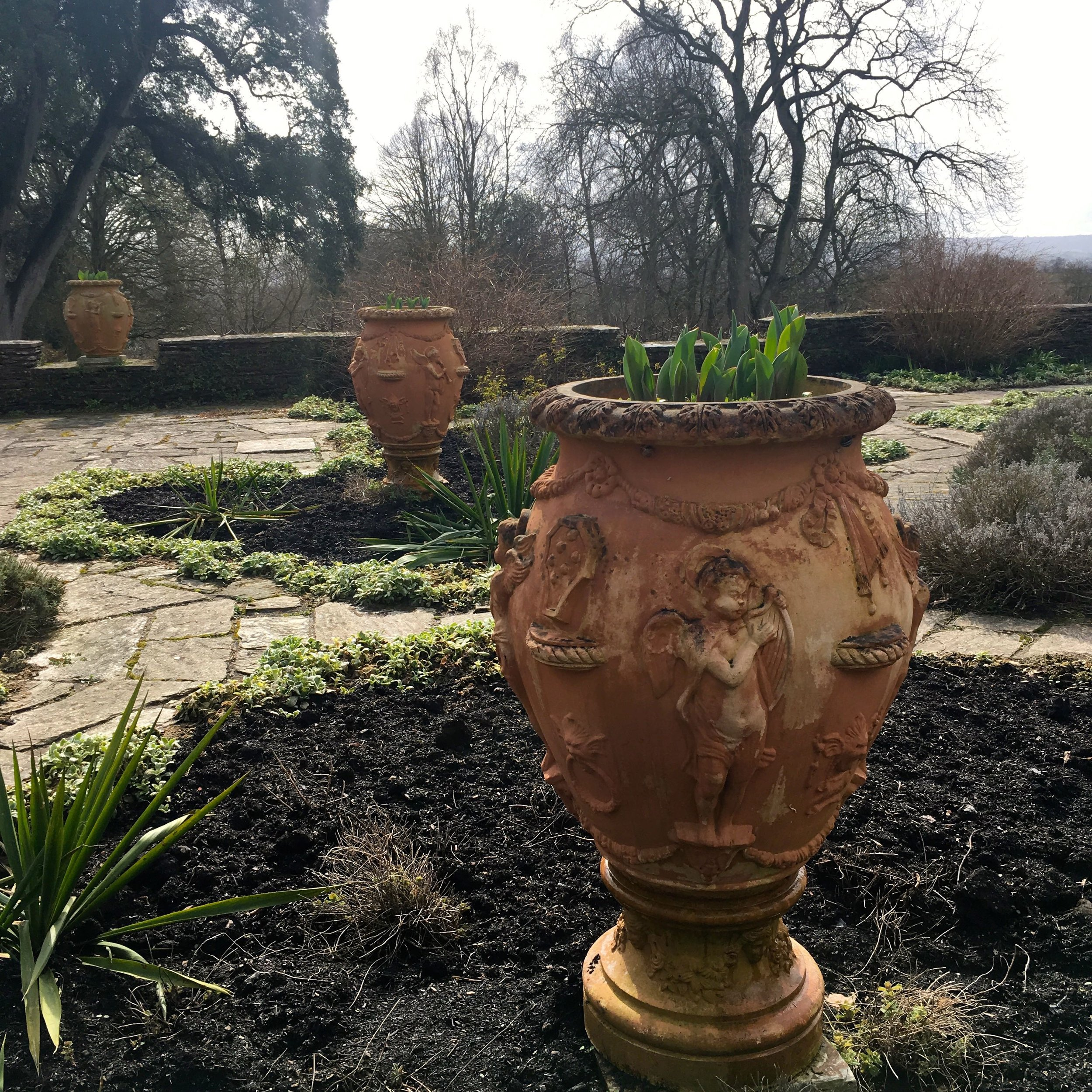 large terracotta pots in the Dutch garden