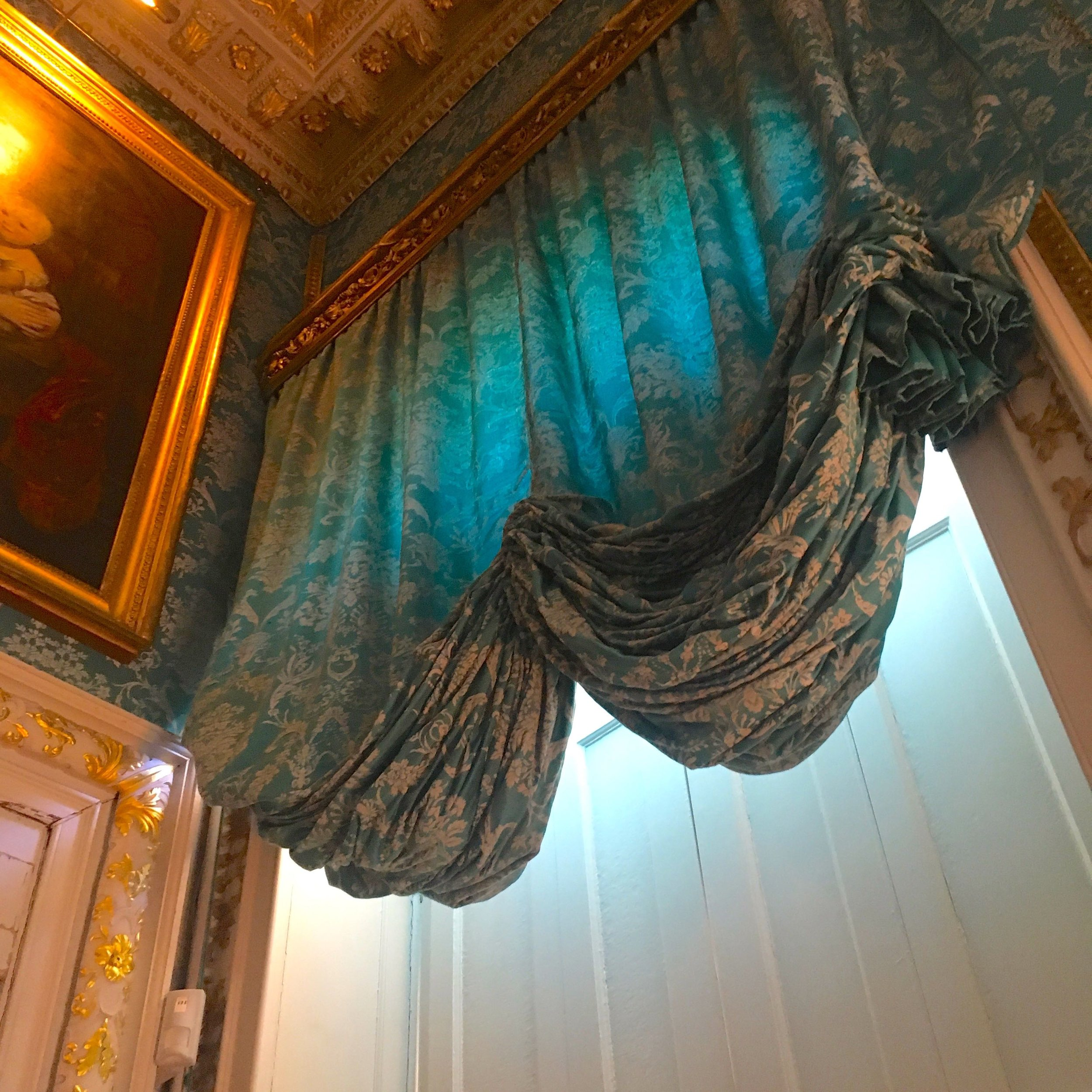 Turquoise festoon blinds at Castle Howard