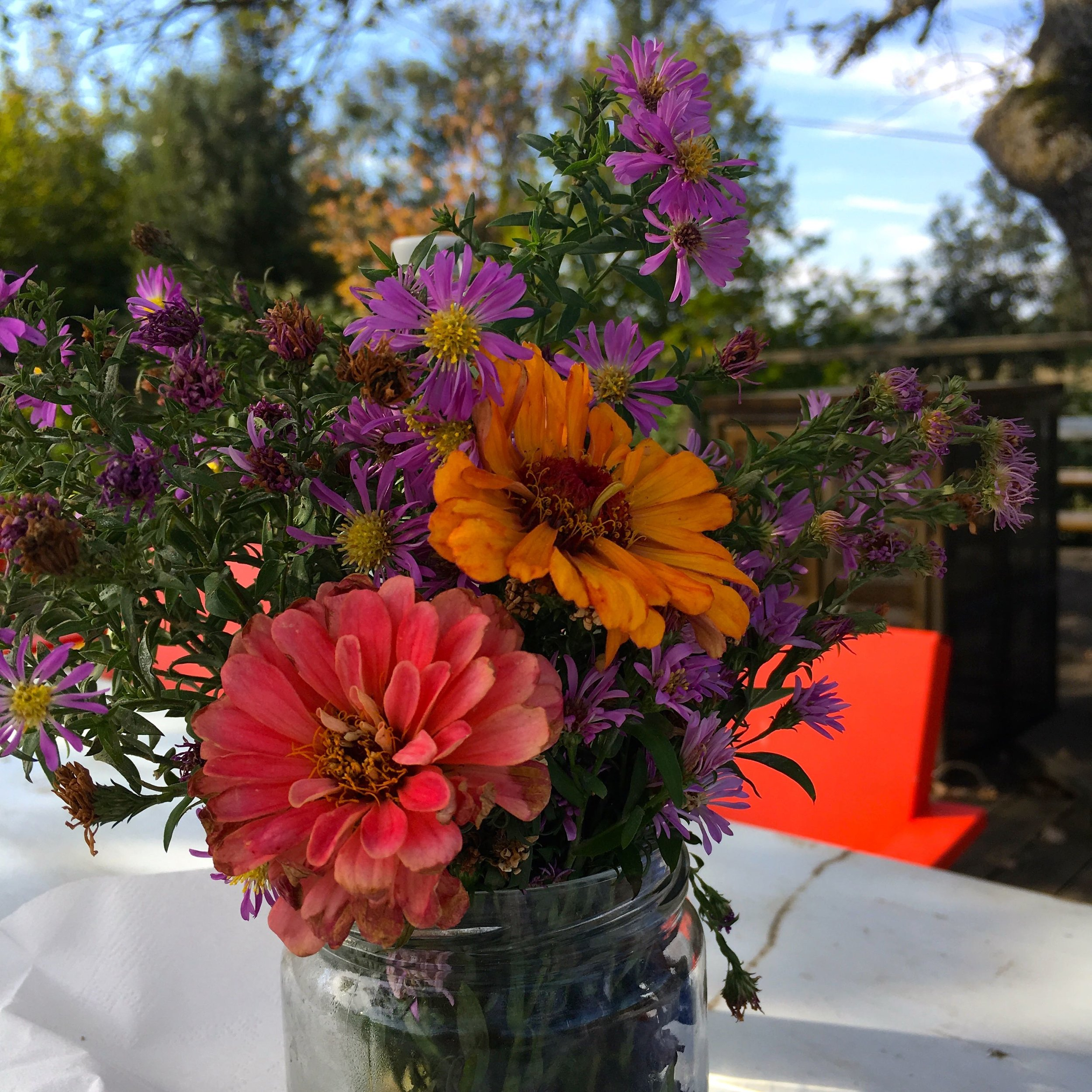 A jam jar of flowers no doubt picked from the vineyard's gardens