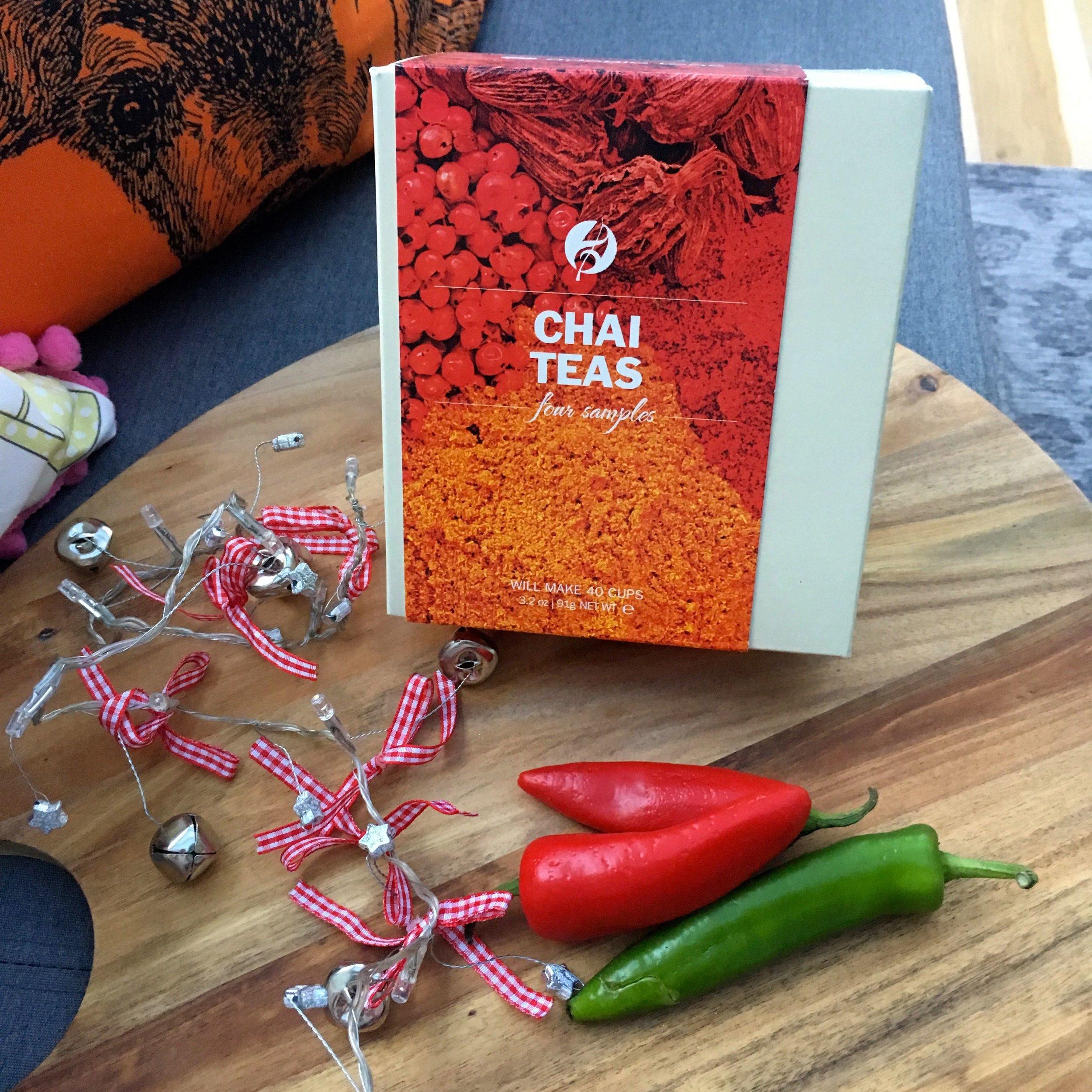 CHAI TEAS INCLUDES: MASALA CHAI, CHOCOLATE CHAI, SPICED APPLE CHAI AND THAI CHAI TEAS