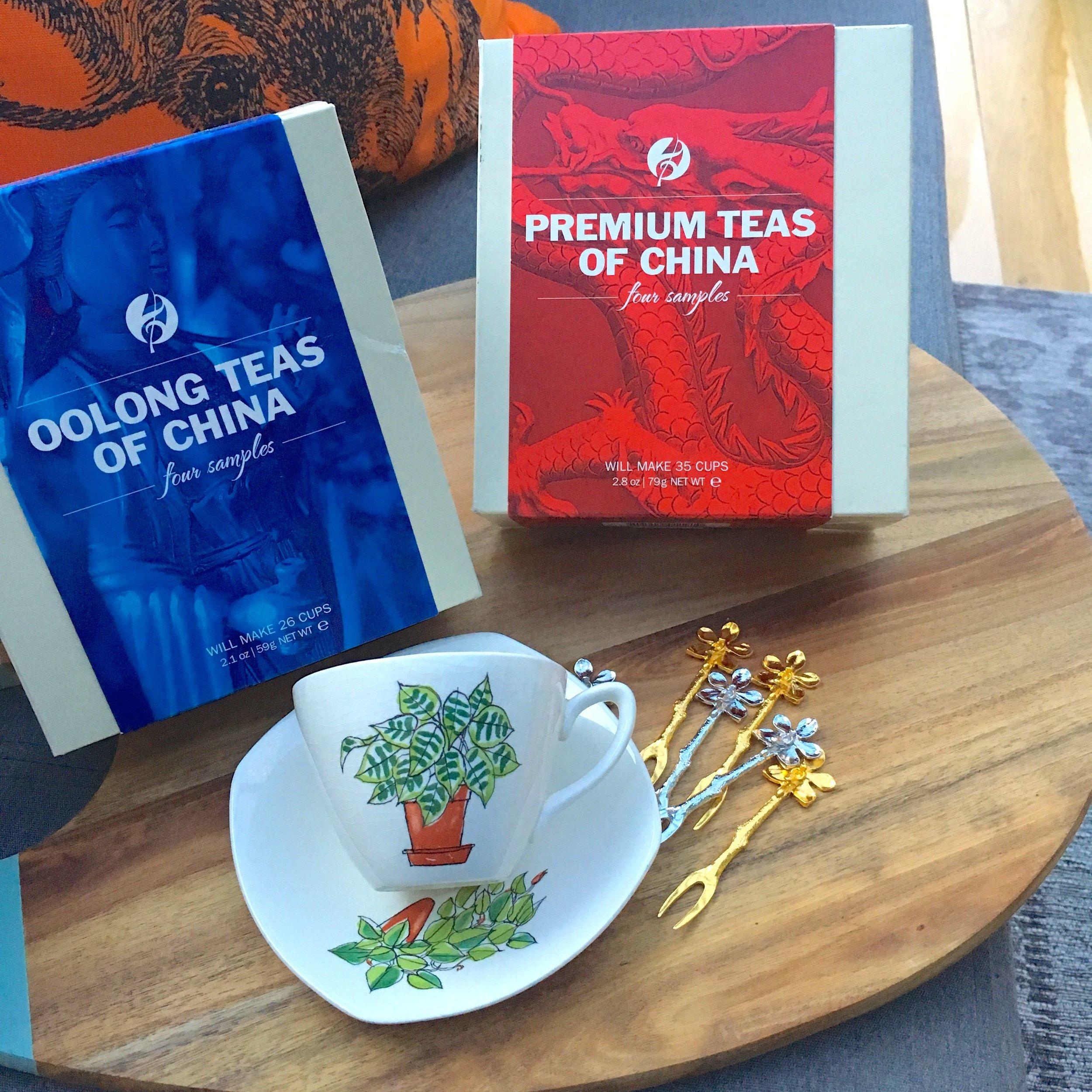 OOLONG TEAS OF CHINA INCLUDES: TI KUAN YIN, WUYI ENSEMBLE, FORMOSA BAI HAO AND DANCONG ARIA TEAS  PREMIUM TEAS OF CHINA INCLUDES: YUNNAN GOLD, GOLDEN SPRING, KEEMUN RHAPSODY AND PU ERH POE TEAS