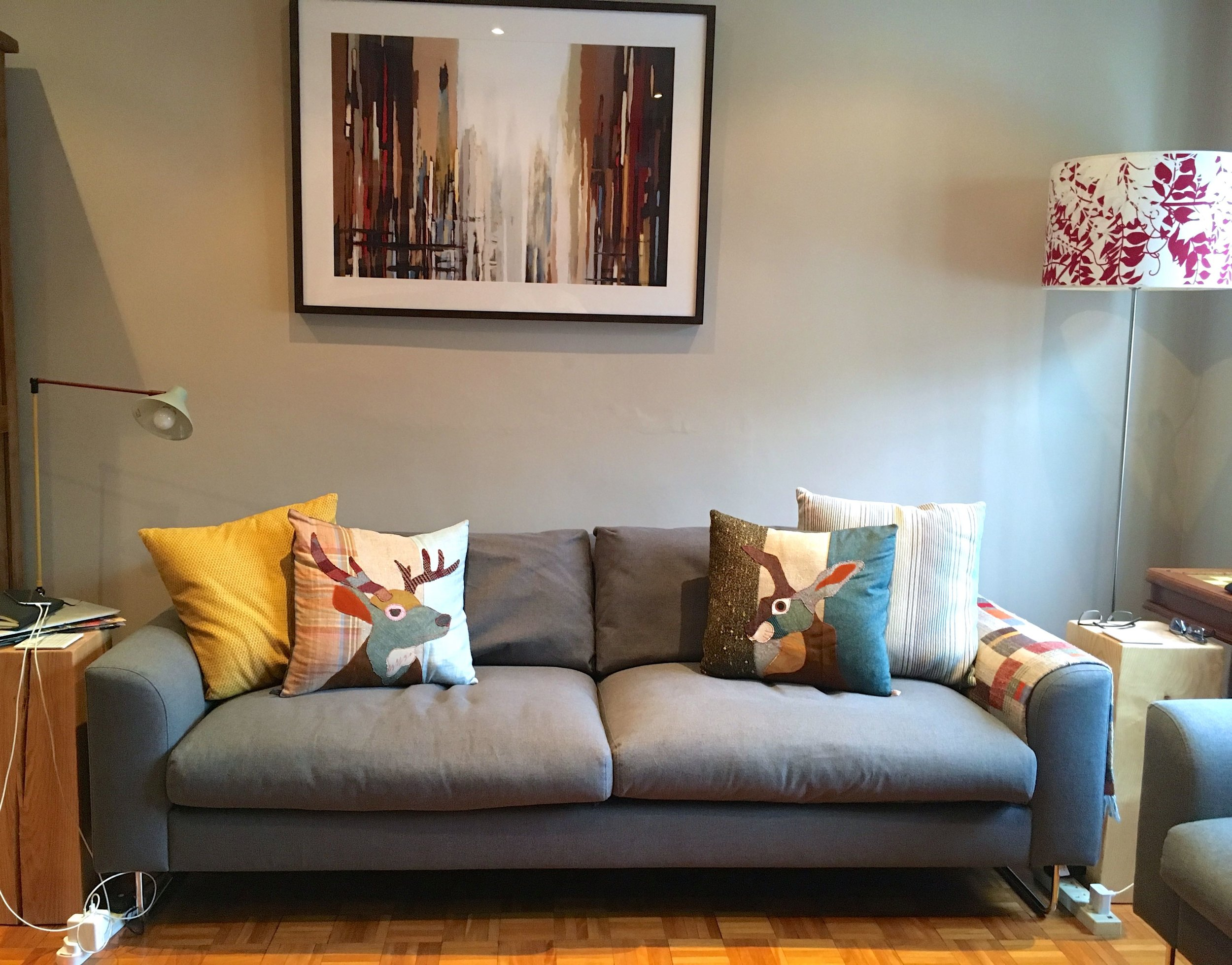 our new sofa bedecked with cushions