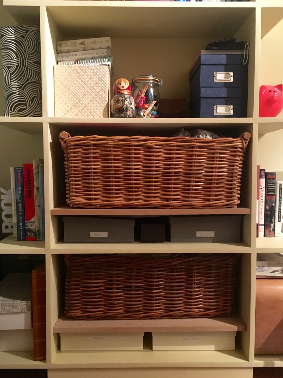 baskets shelves and boxes makes me happy