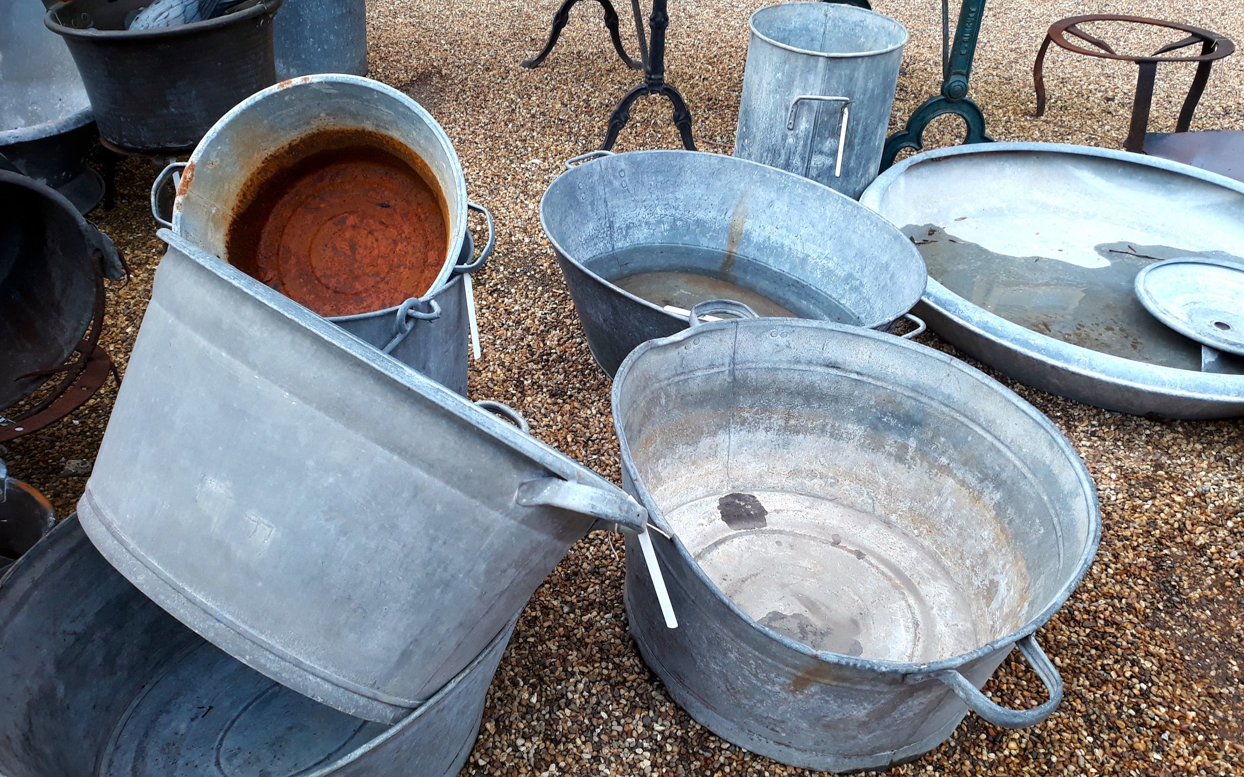 Galvanised pots of all shapes and sizes at Creake Abbey