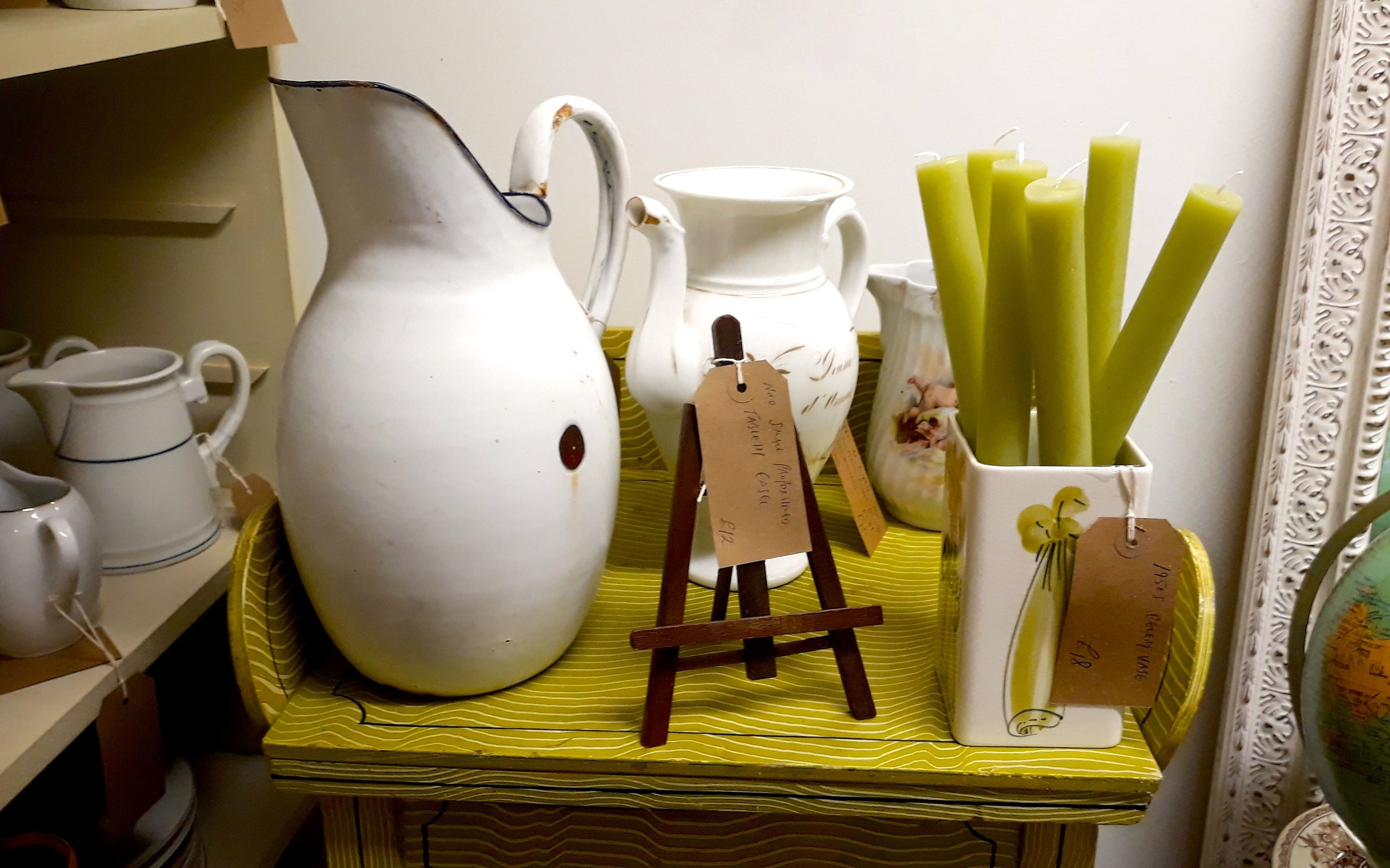 enamel jugs and pistachio coloured candles