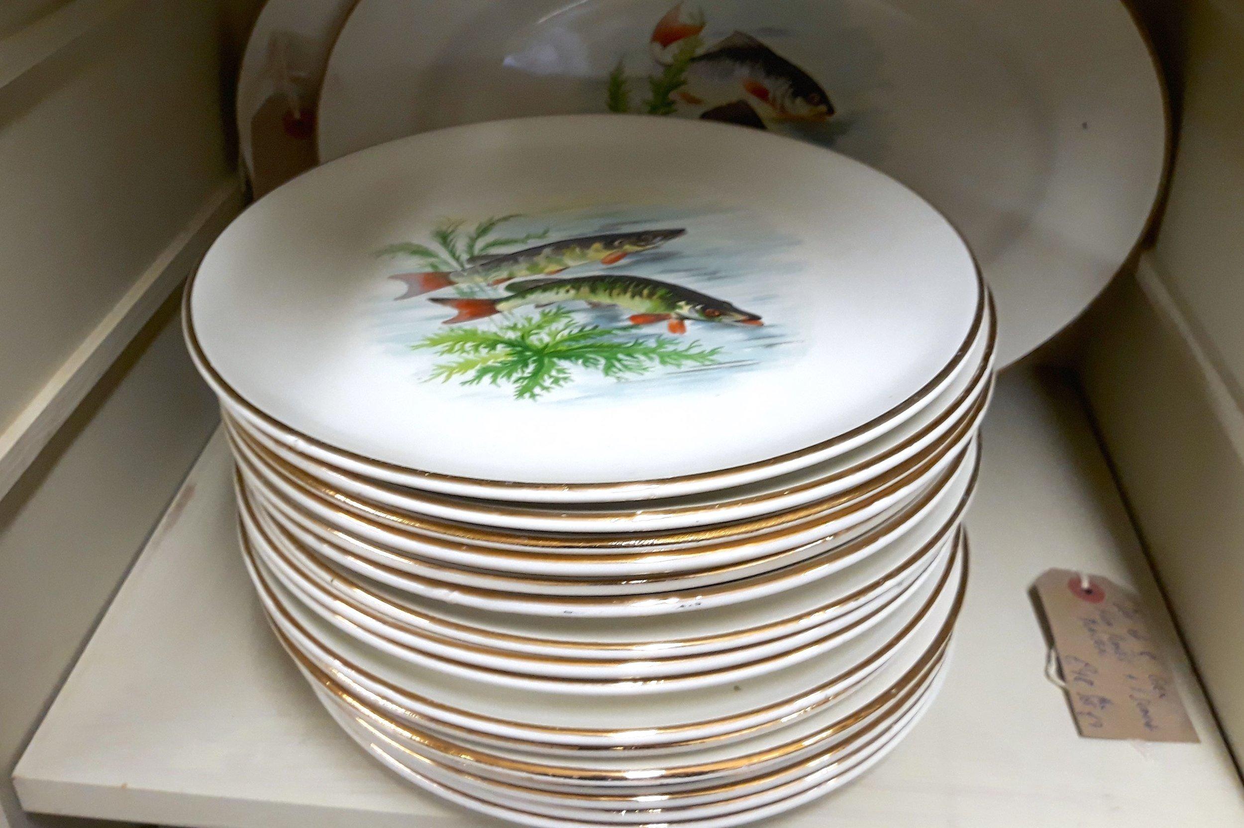 crockery decorated with fish