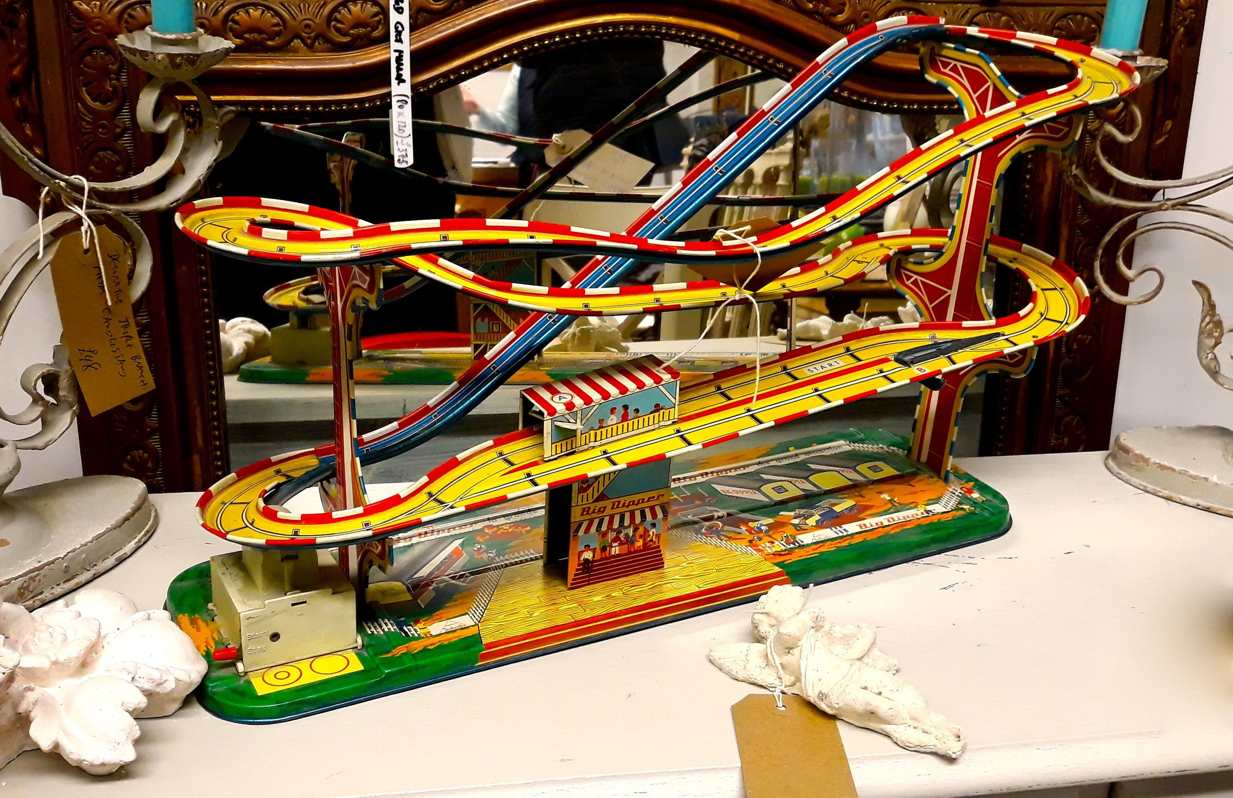A toy car helter skelter track