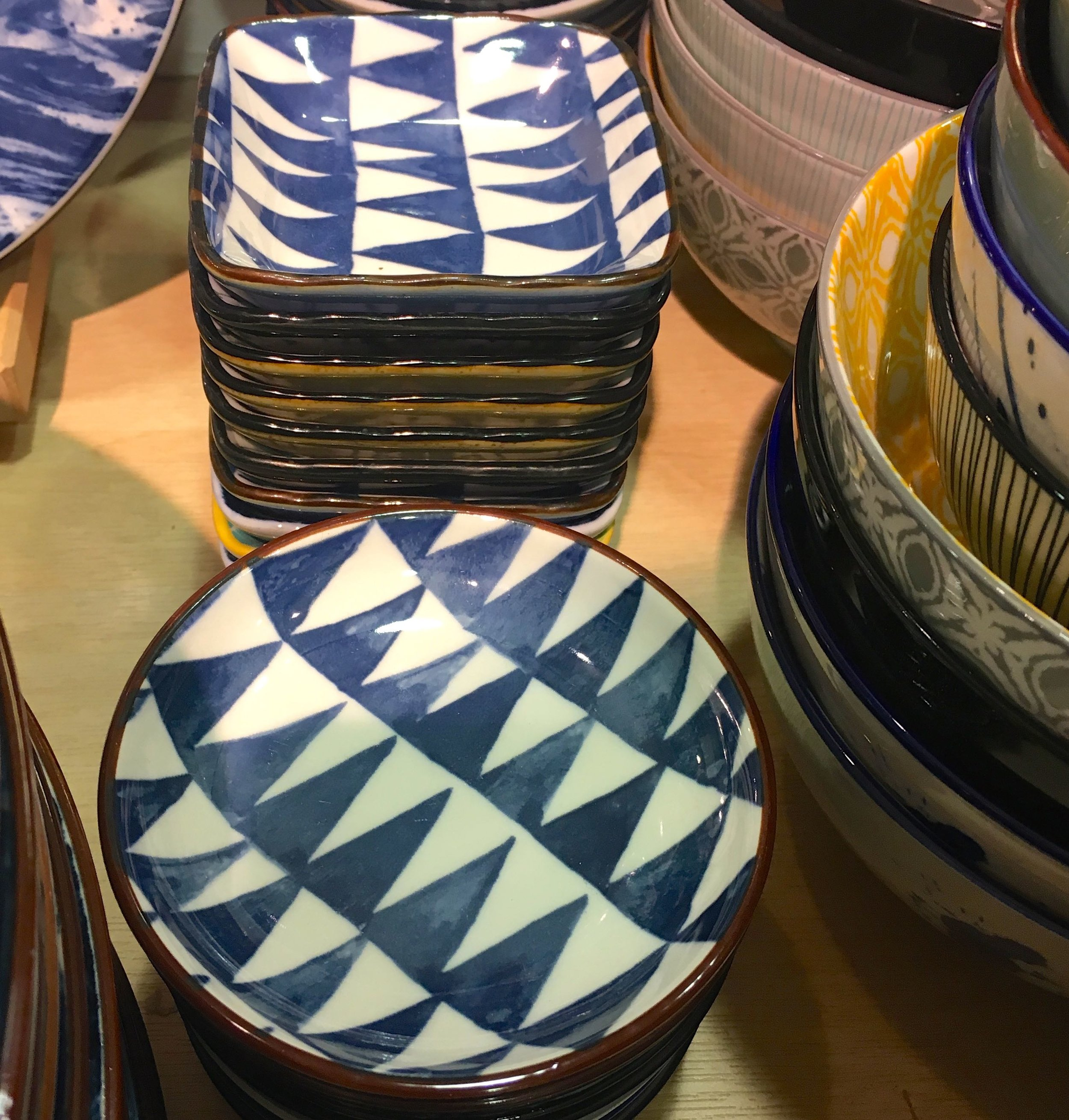 crockery with bold geometric patterns