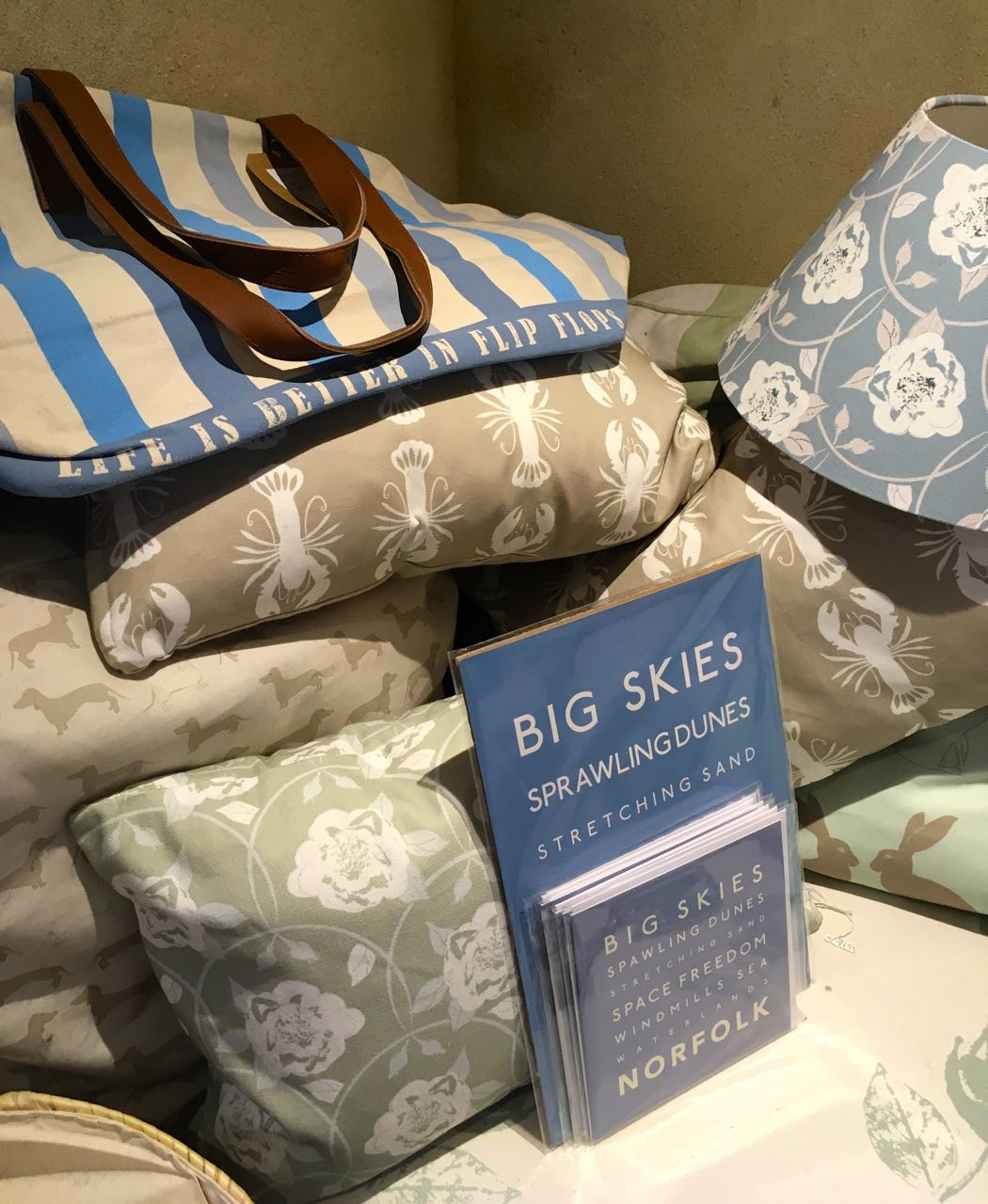 Norfolk's big skies quote and patterned homewares