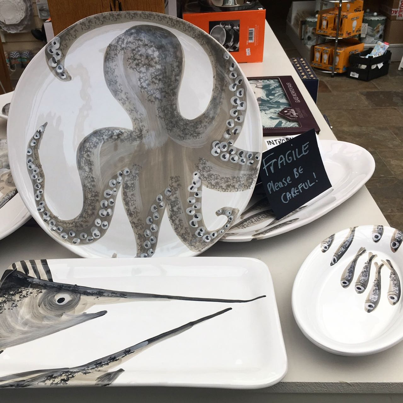 More of the fish plates - including the octopus one - at Uttings