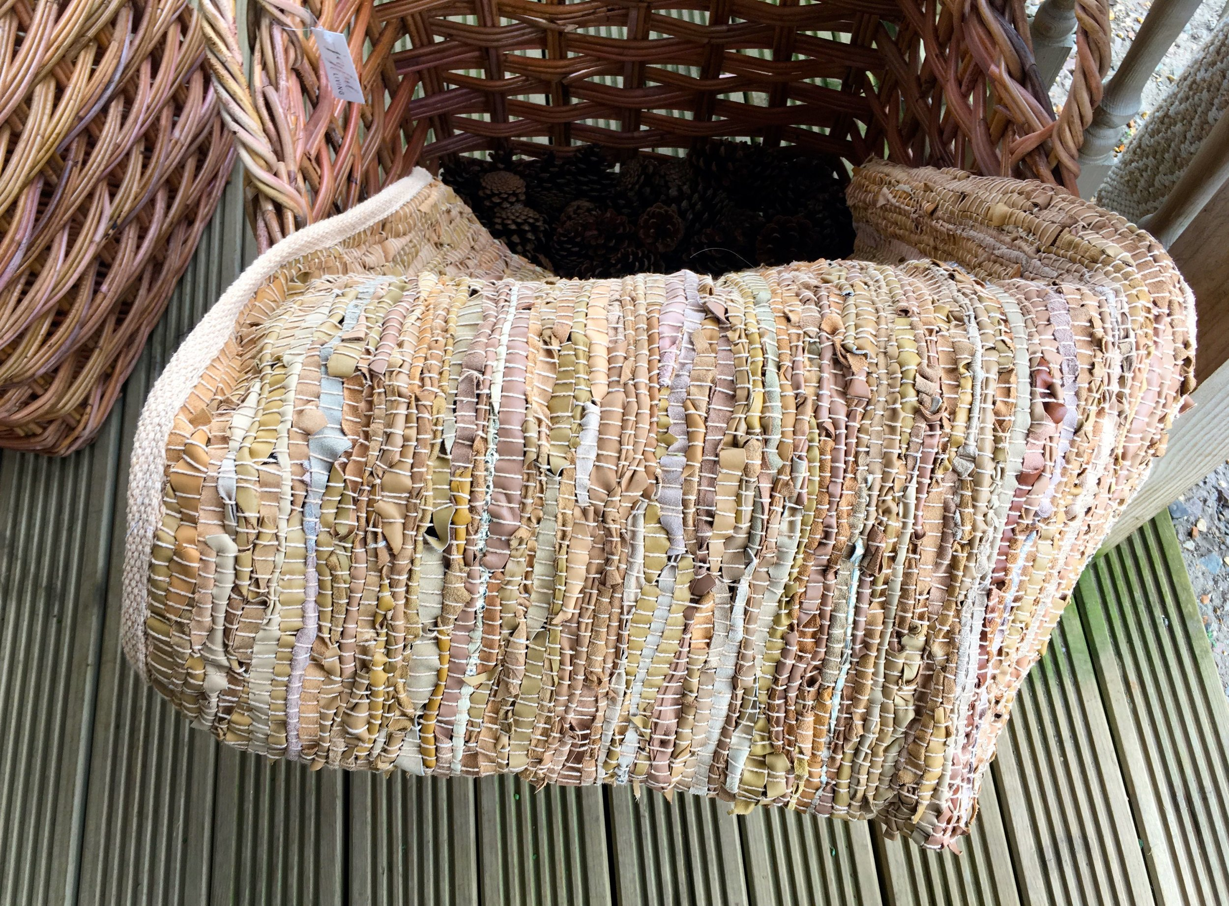 A rug made from leather strips at Joyful Living Norfolk