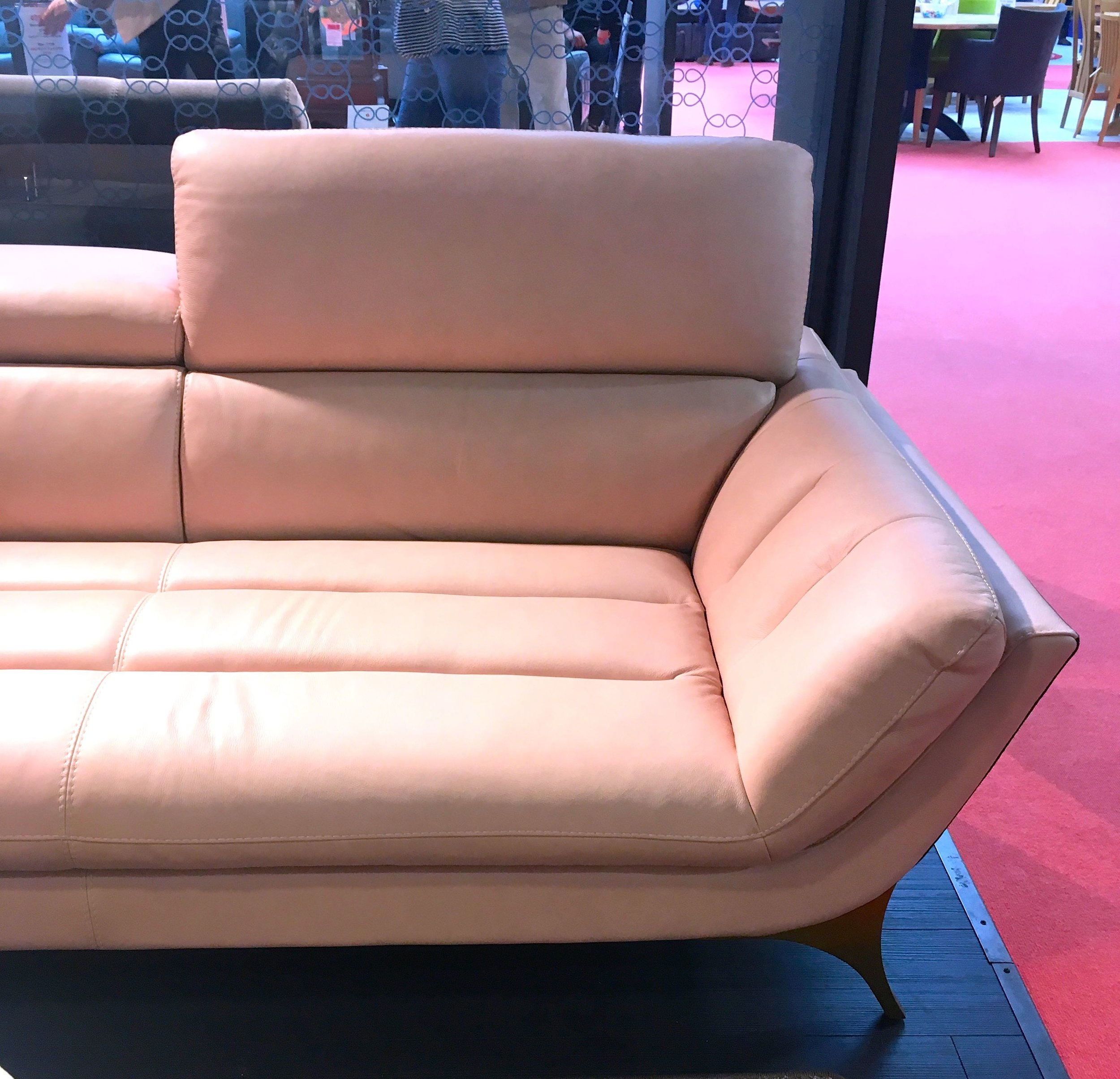 A PINK SOFA IN THE INTERIORS SECTION