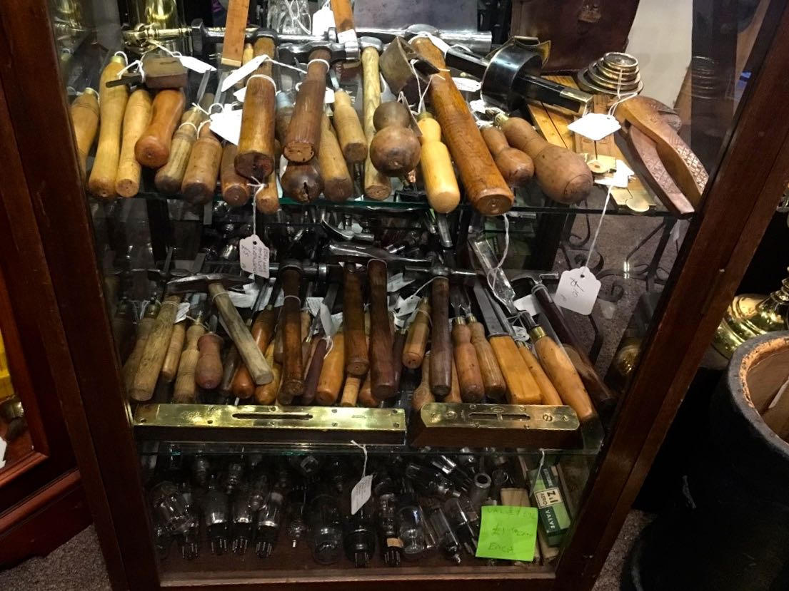 Trays of old tools