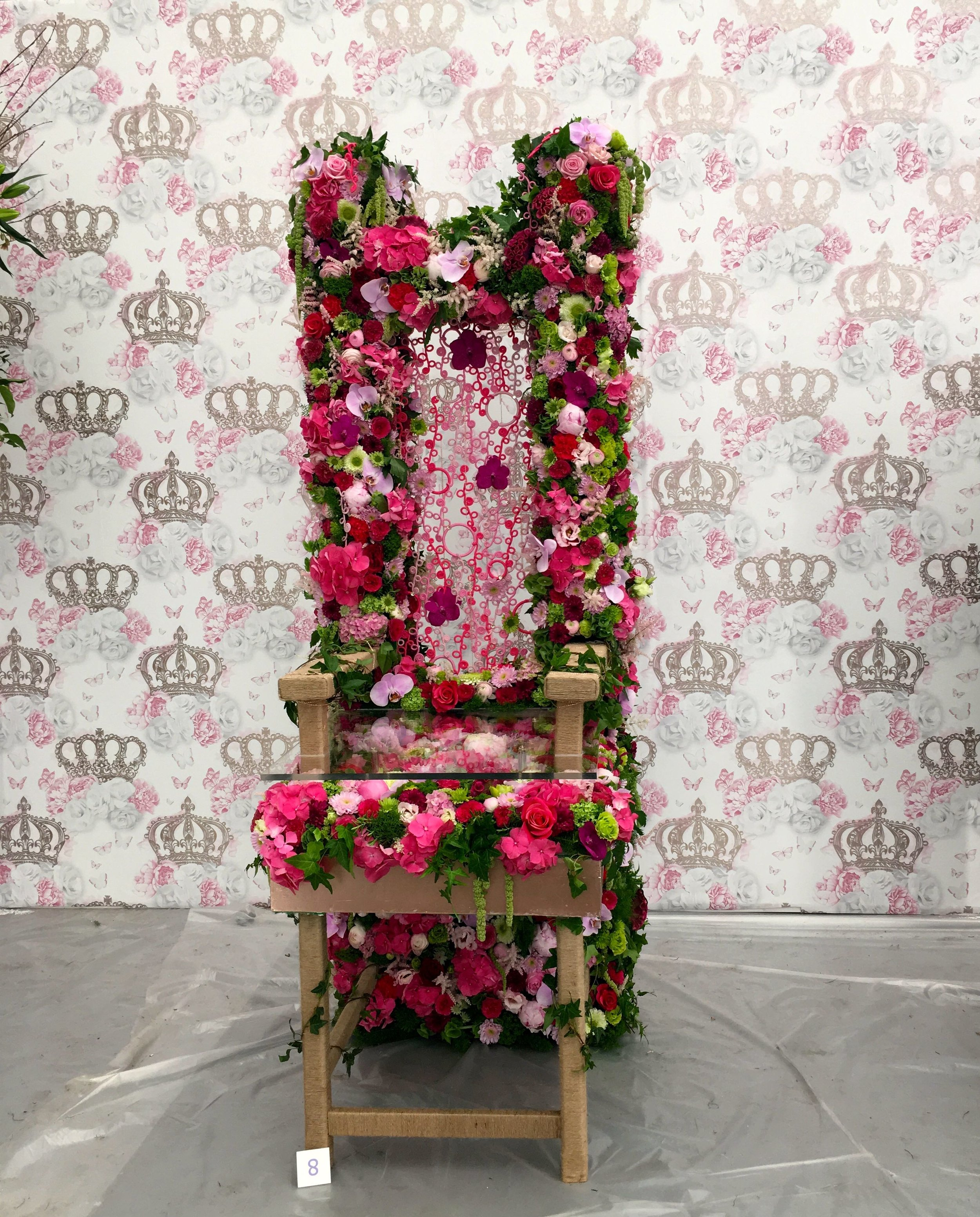 pink flowers of almost every type in this floral throne