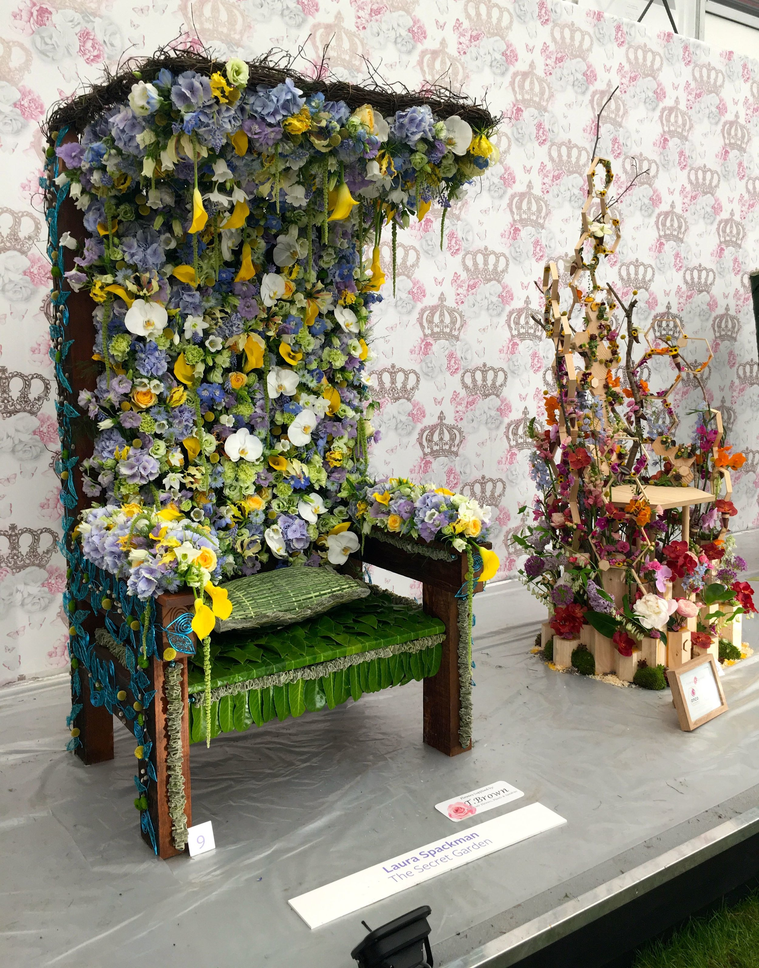 A canopied throne at the Chelsea Flower Show