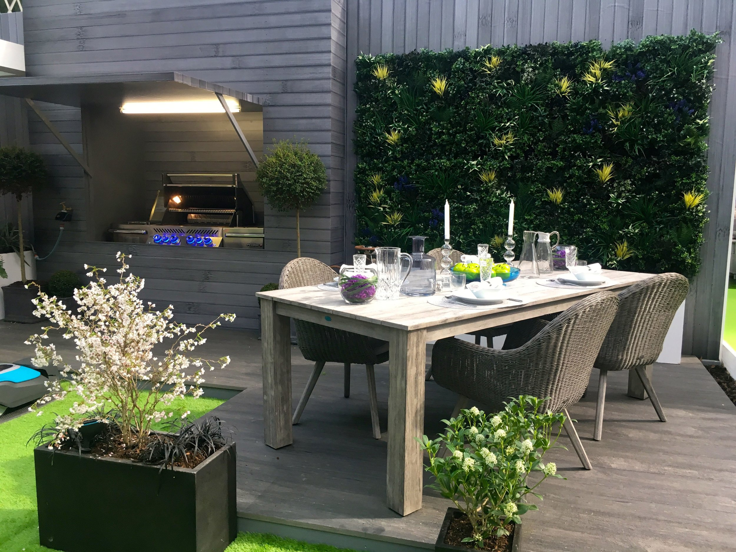 A place to dine in the Contemporary Garden at the Ideal Home Show